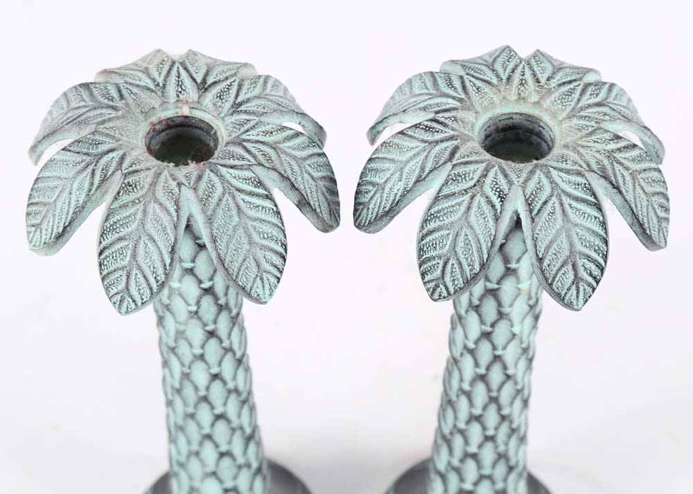 Cast Metal Palm Tree Candle Holders Ebth