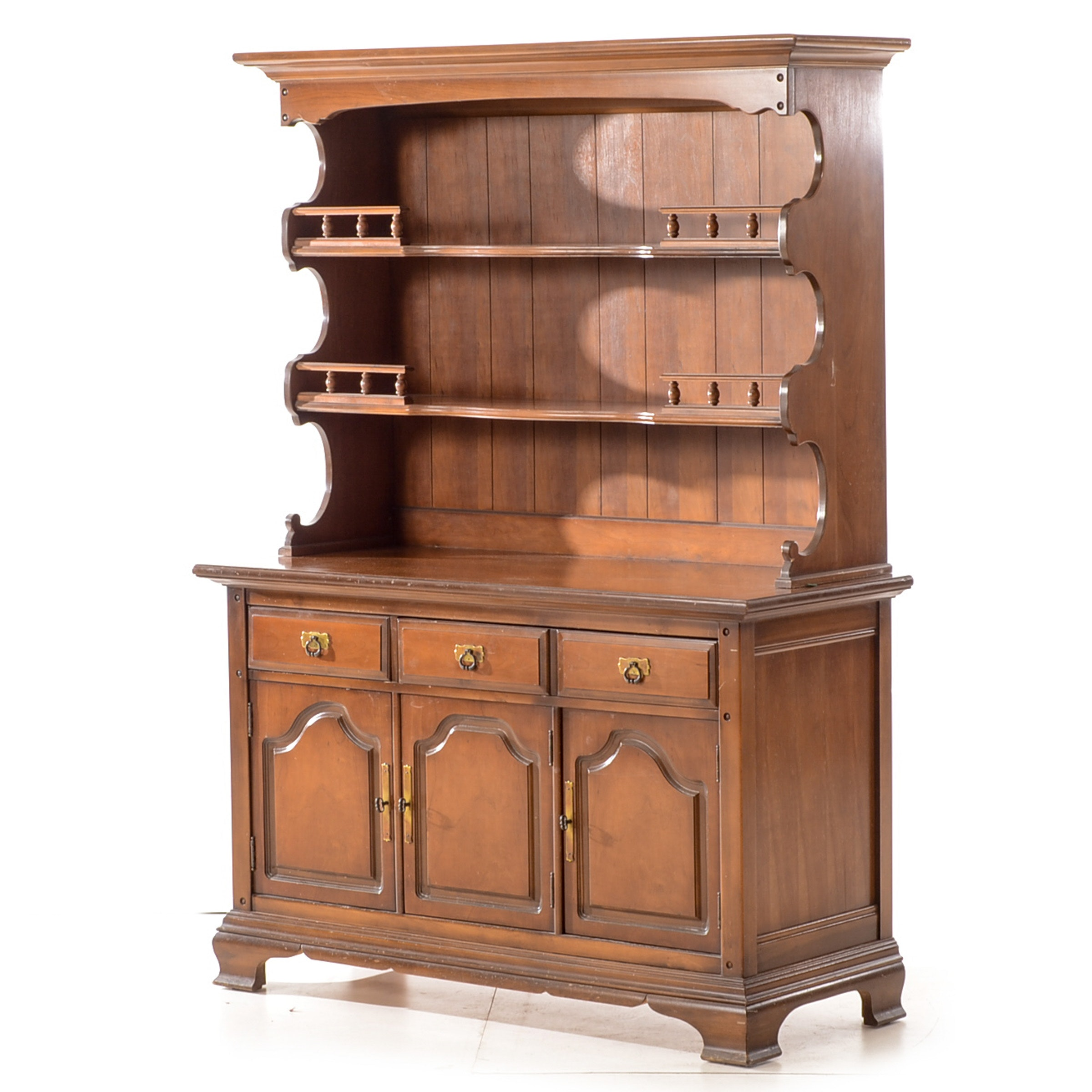 Colonial Style Cherry Hutch on Cabinet