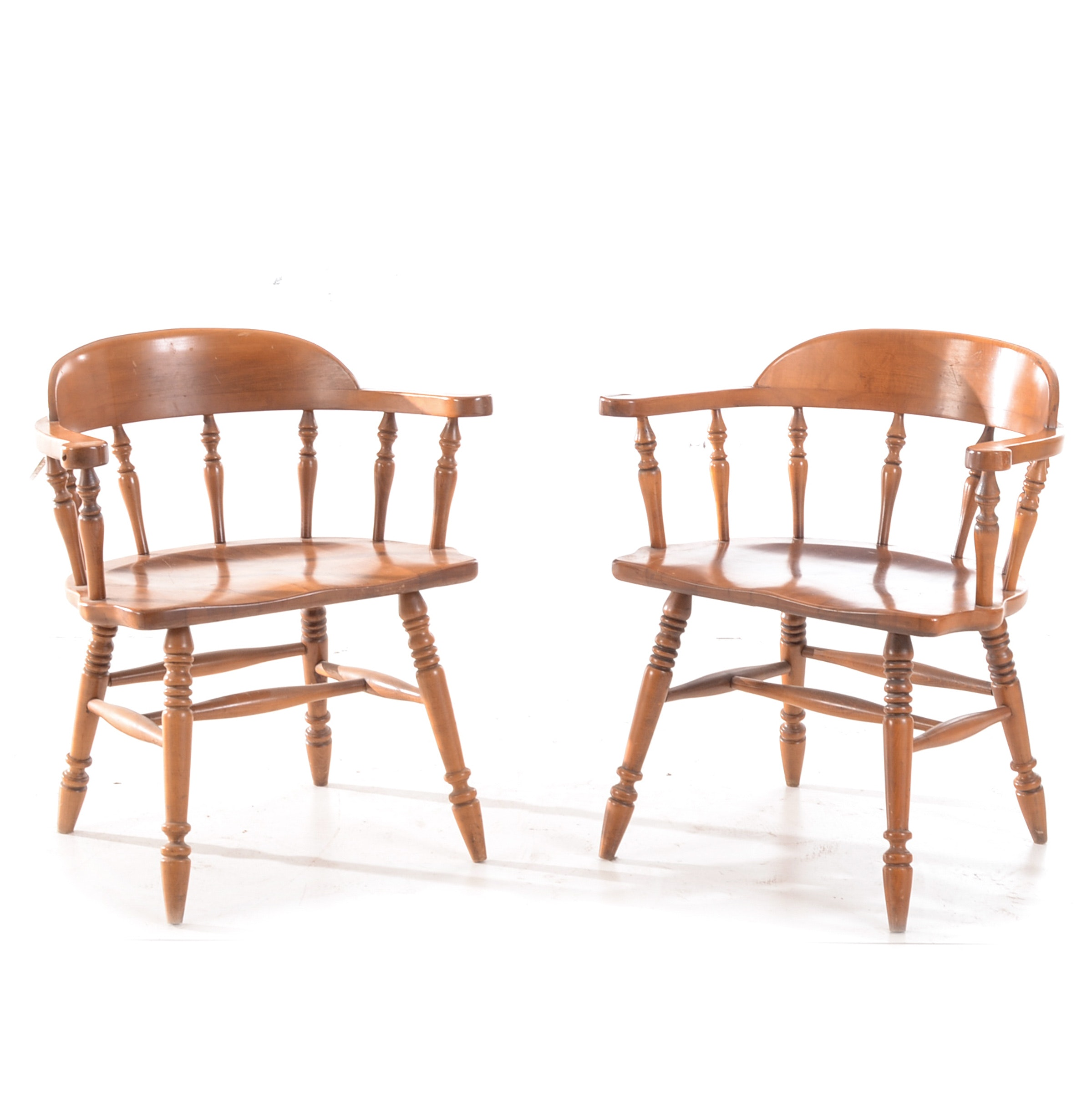 Pair of Vintage Maple Captain's Chairs