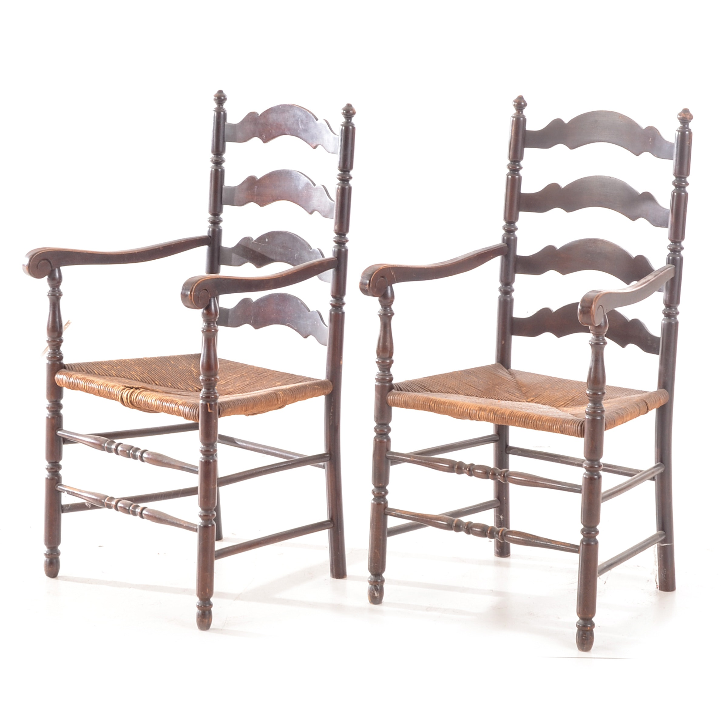 Pair of Vintage Ladder-Back Arm Chairs