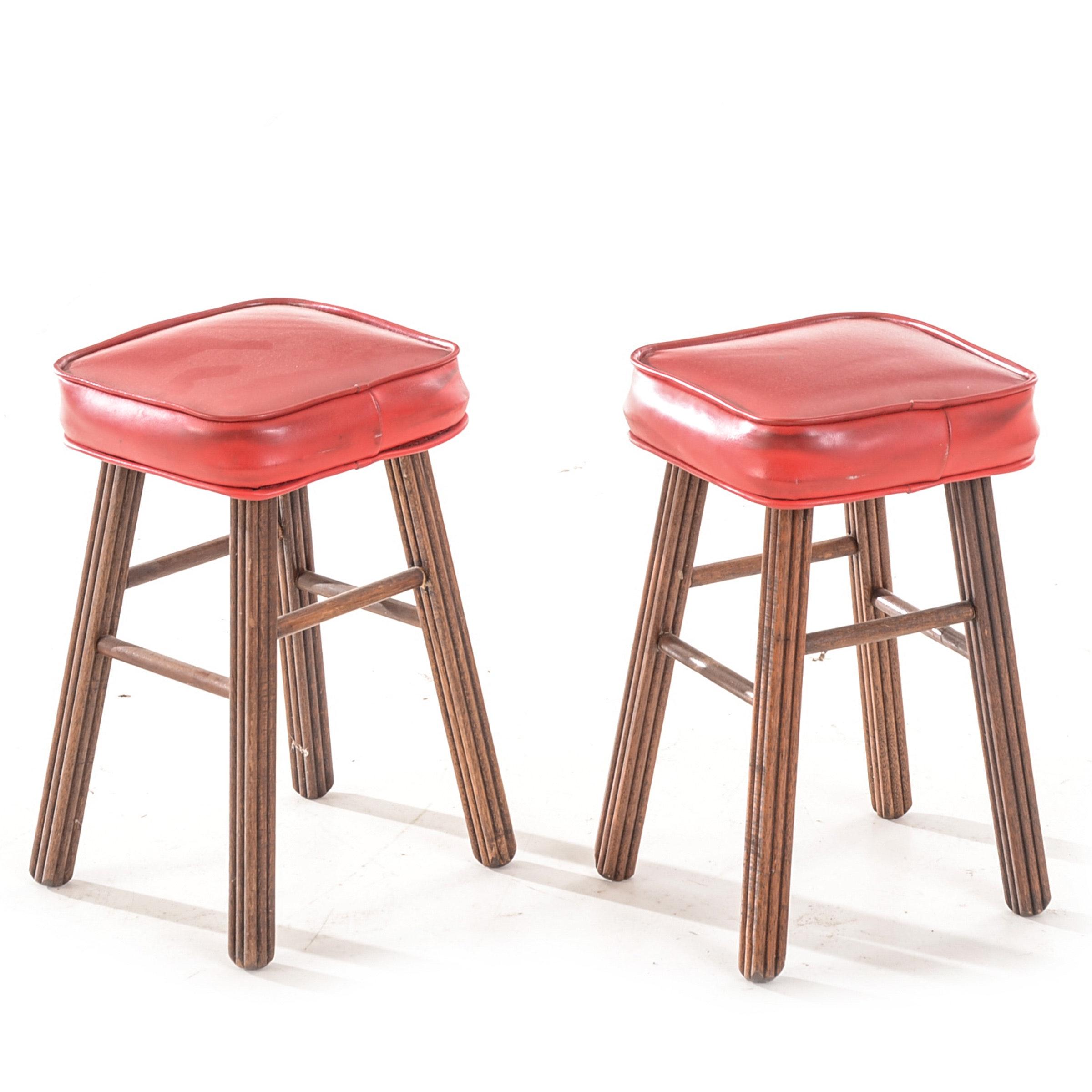 Pair of Red Vinyl Seat Stools