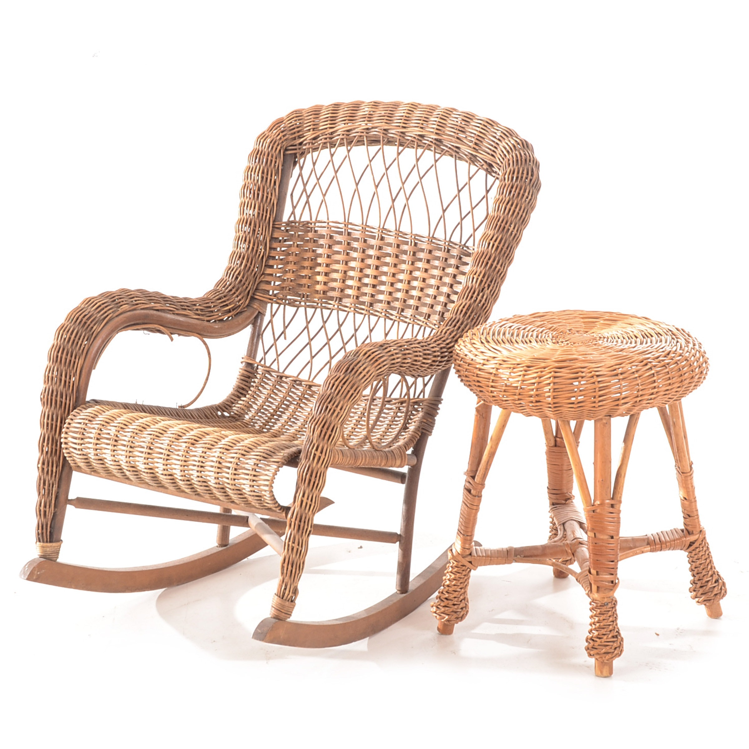 Vintage Child's Wicker Rocker and Stool