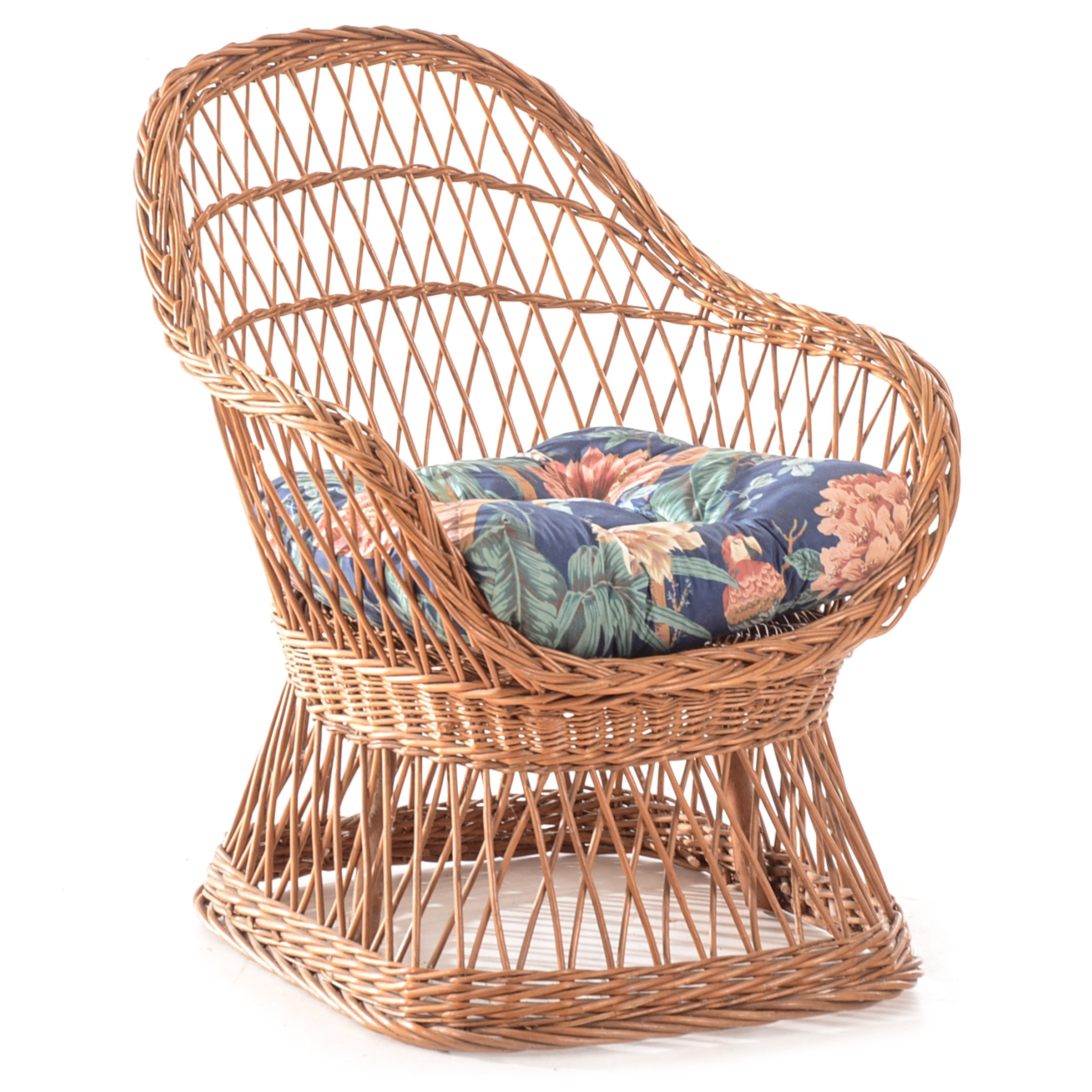 Natural Wicker Pedestal Based Chair