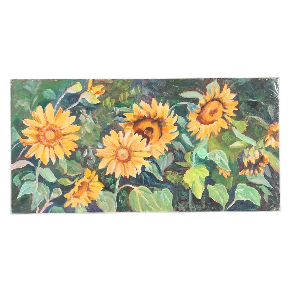 Louise Garfield Clark Original Acrylic Sunflower Painting on Board