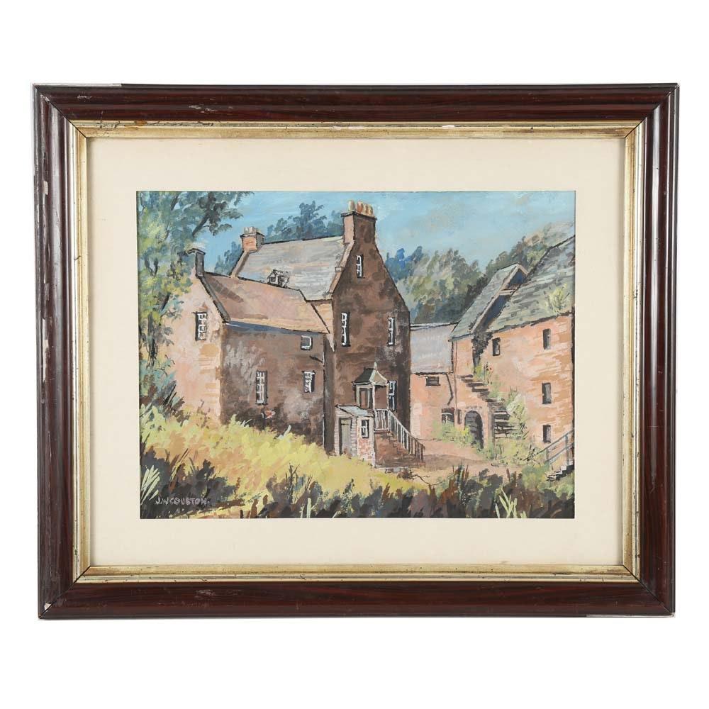 "John W. Couston Original Gouache Painting ""In Repose"""