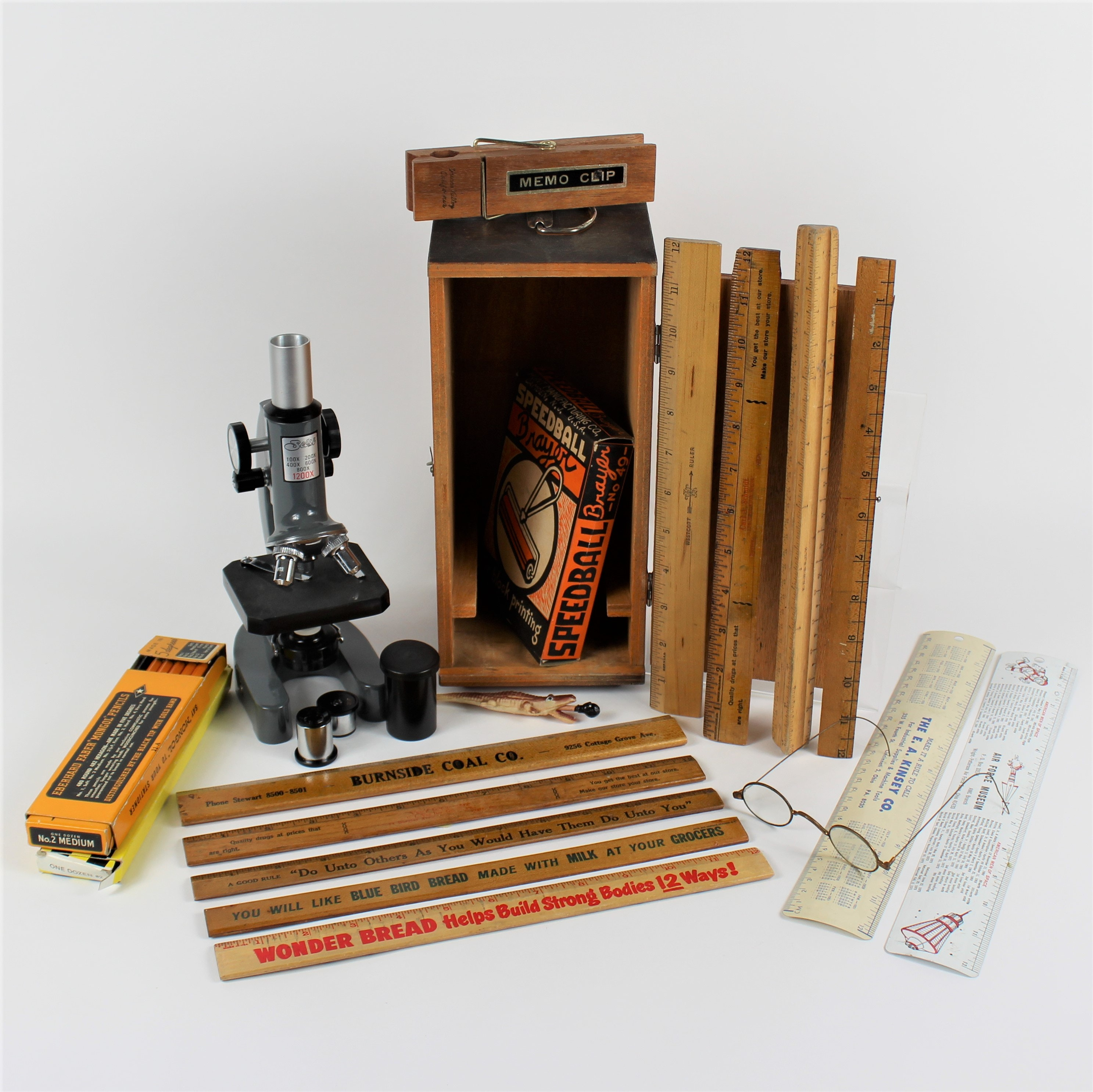 Vintage Selsi Microscope, Vintge Rulers and More