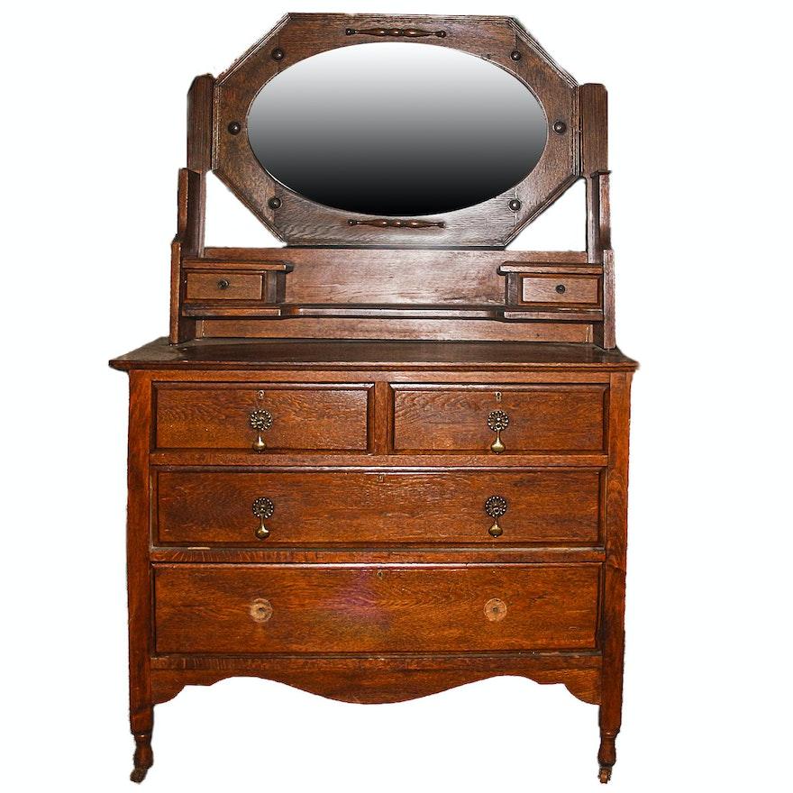 Antique Oak Vanity Dresser