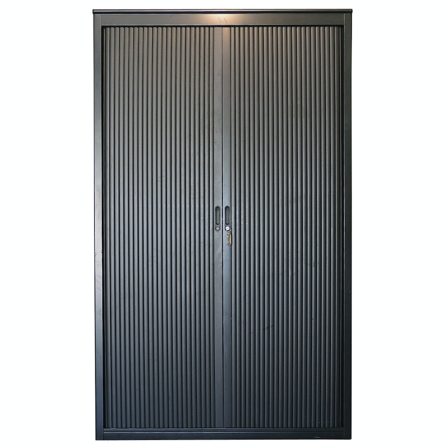 Metal Storage Cabinet With Retractable Louvered Doors Ebth