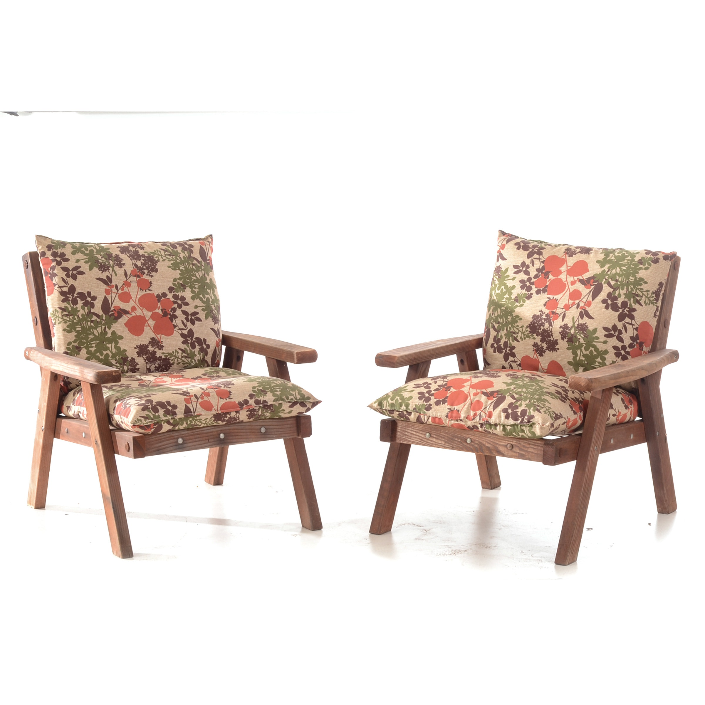 Pair of Mid-Century Redwood Lounge Chairs