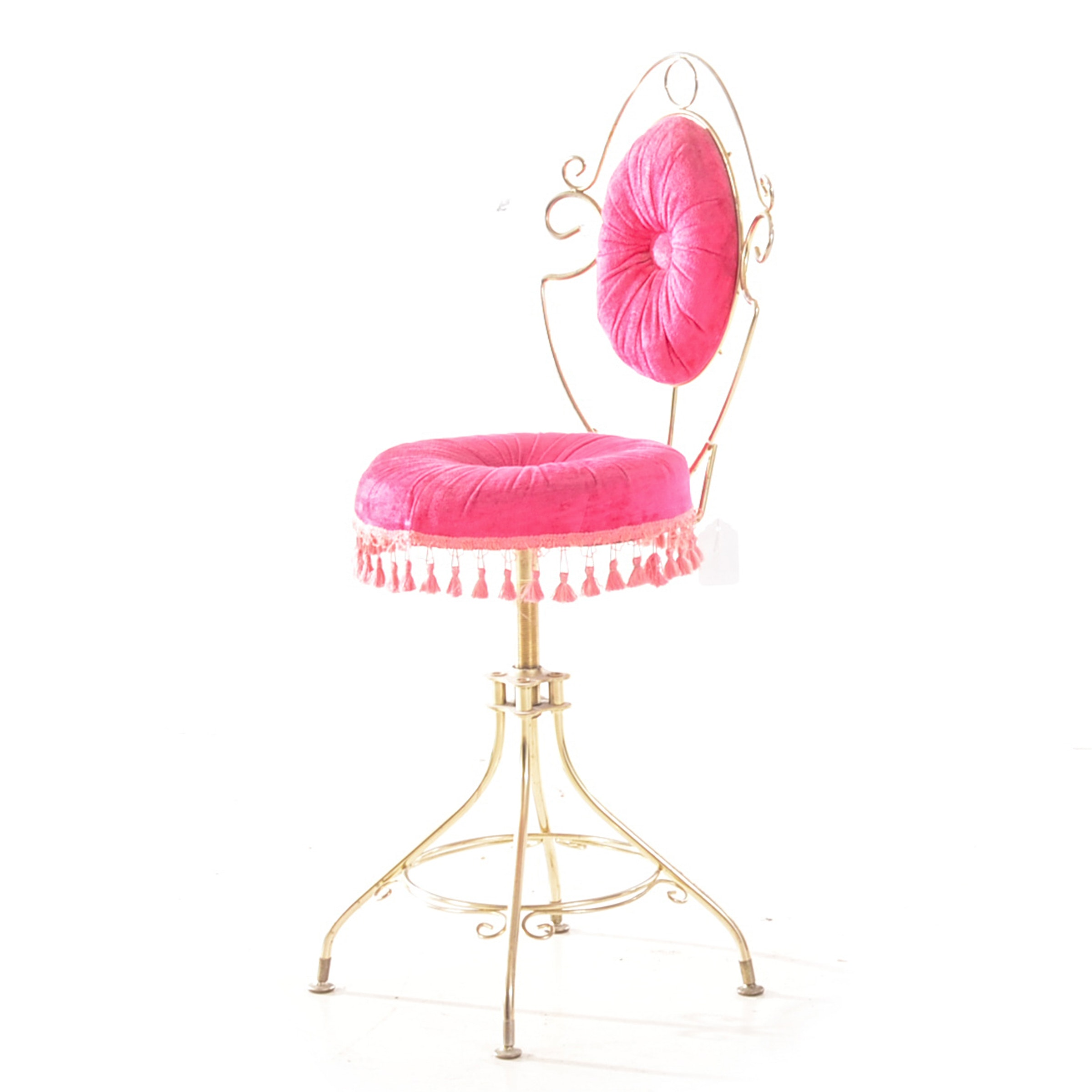 Pink and Brass-Tone Vanity Chair