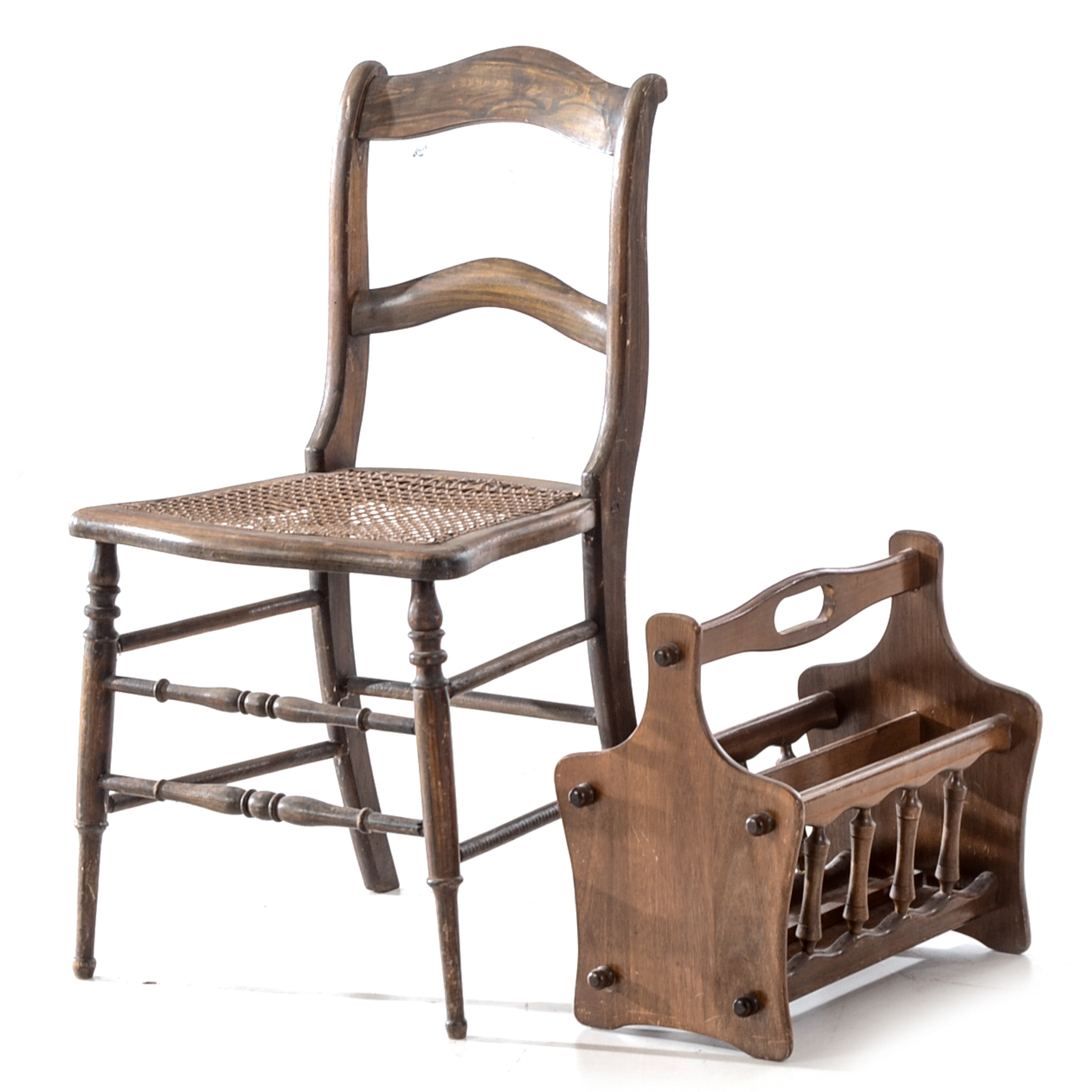 Magazine Rack and Victorian Cane-Seat Chair