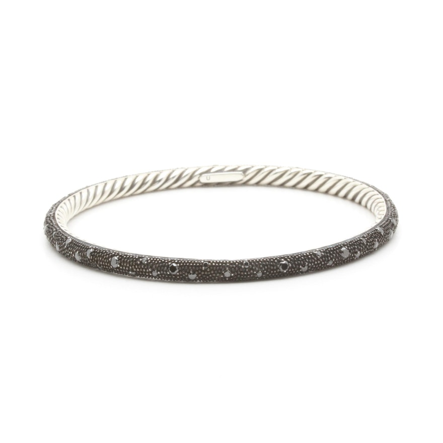 David Yurman Sterling Silver 1 18 Ctw Black Diamond Midnight Mélange Bracelet