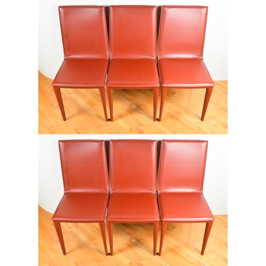 Sensational Frag Contemporary Italian Leather Dining Chairs In Dark Orange Camellatalisay Diy Chair Ideas Camellatalisaycom