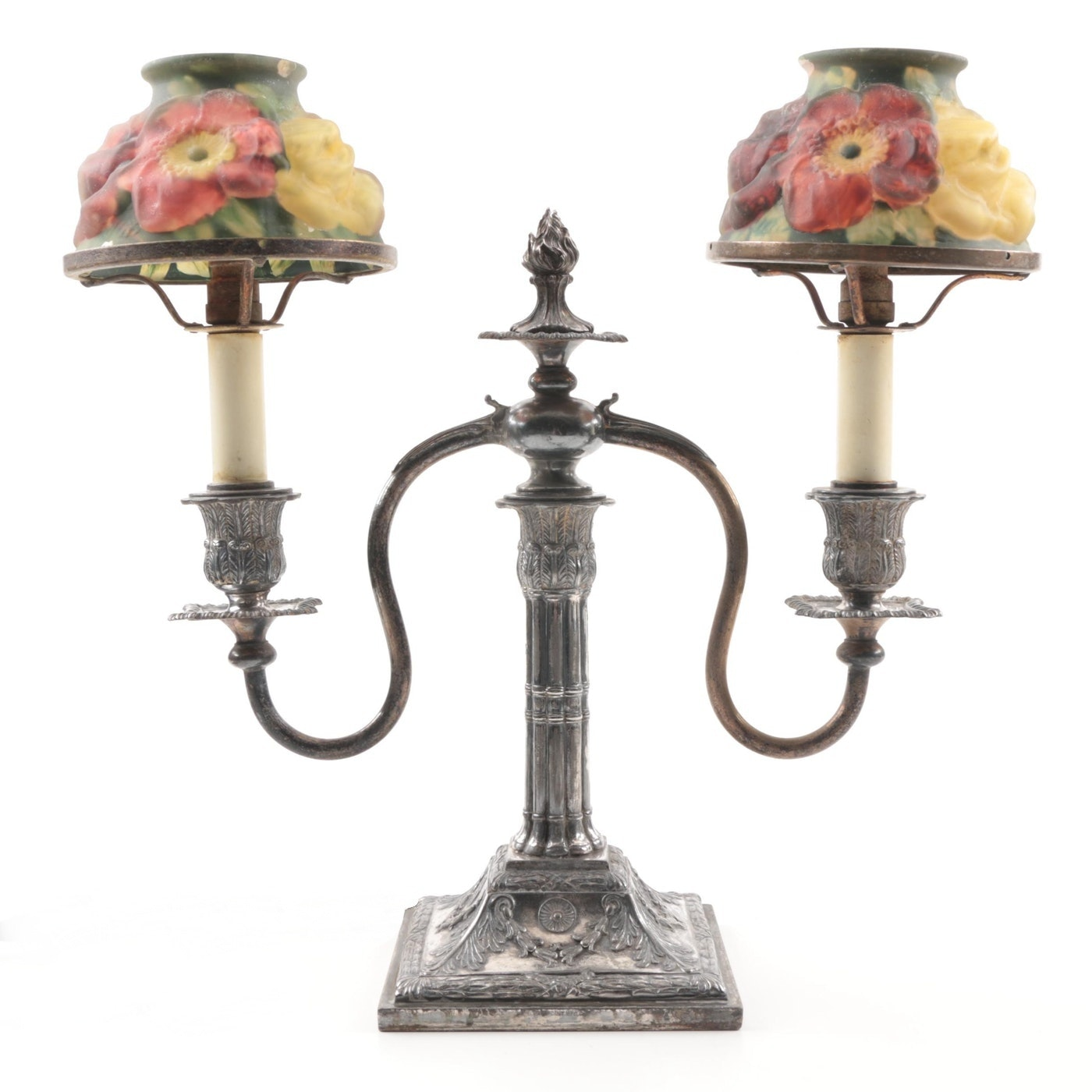 Pairpoint Silver Plate Candle Lamp with Puffy Floral Glass Shades