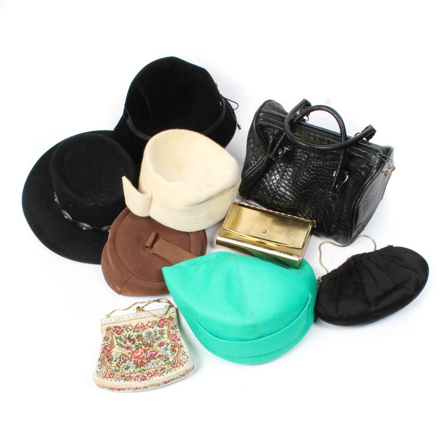 Vintage Hats and Handbags Featuring Pierre Balmain and Helen Kaminski