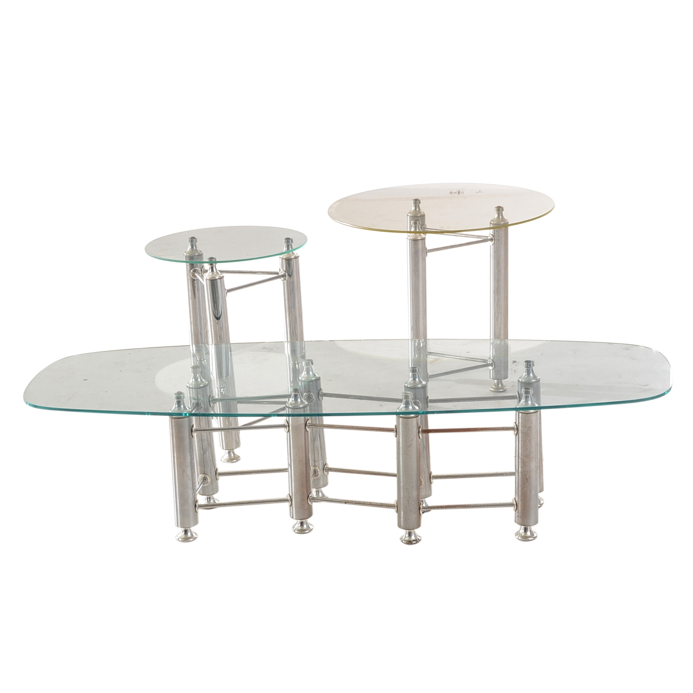 Three Piece Chrome and Glass Table Set