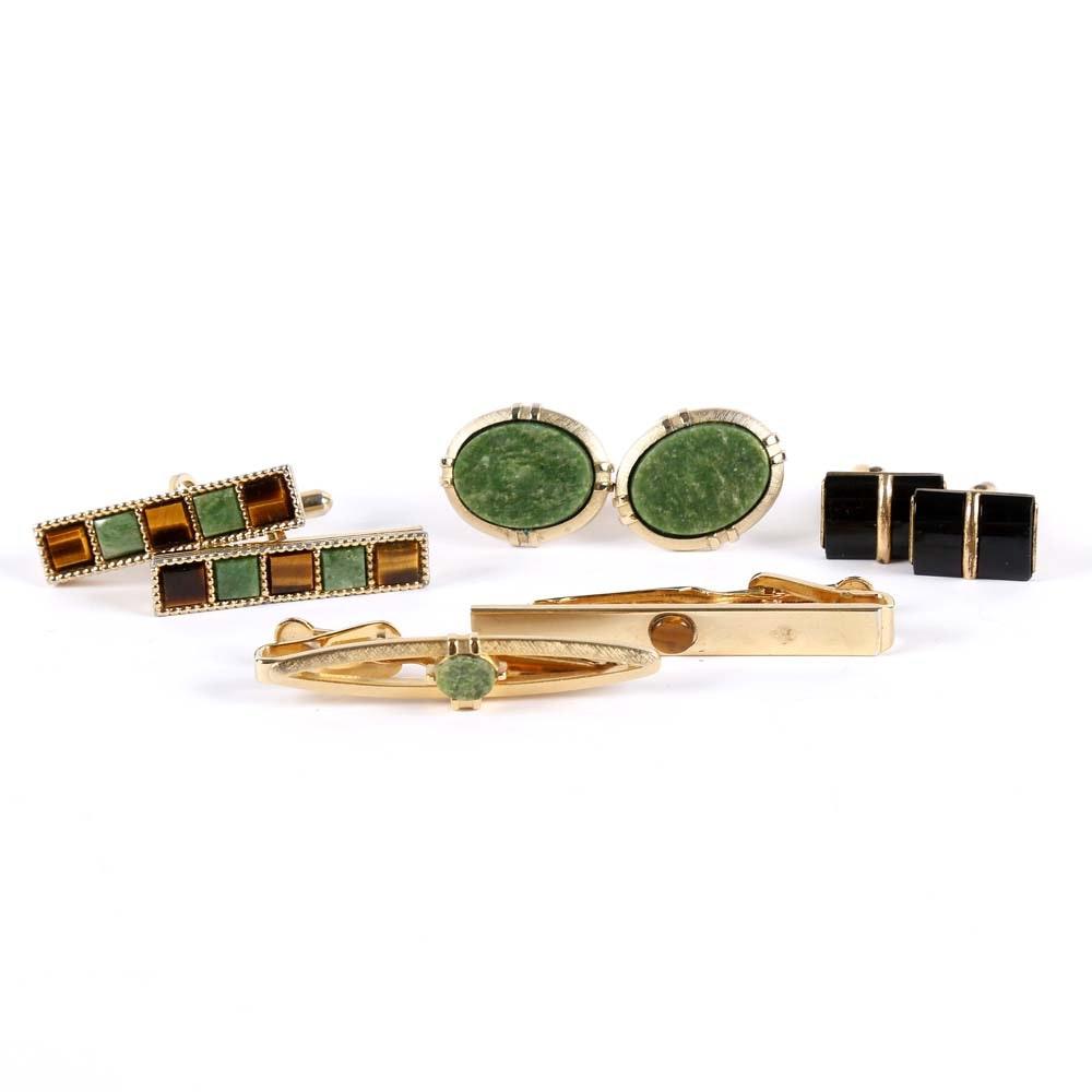 Assortment of Cufflinks and Tie Bar Sets