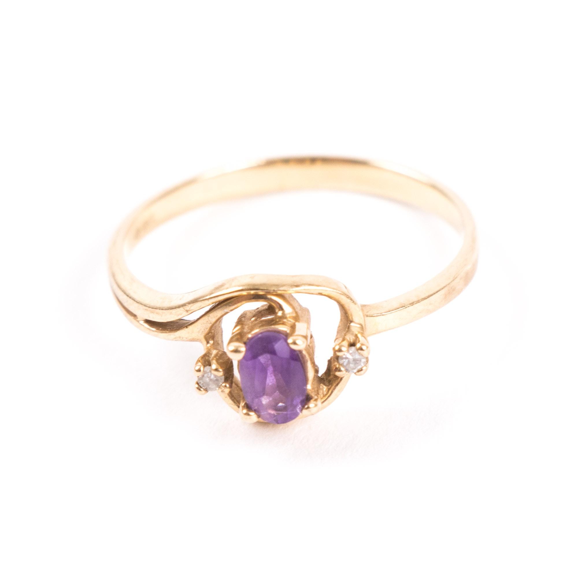 10K Yellow Gold, Amethyst, and Diamond Ring