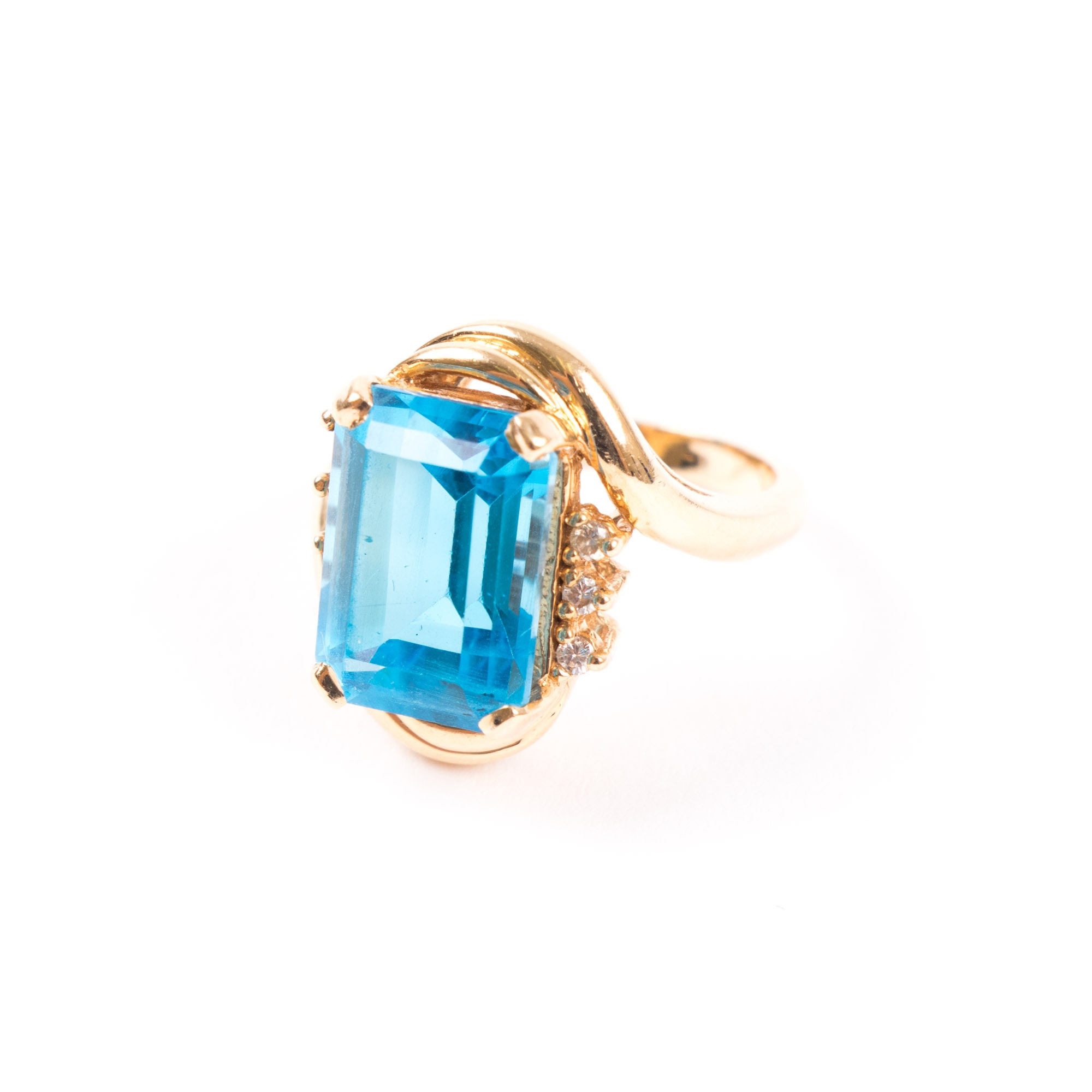 14K Yellow Gold, Topaz, and Diamond Ring