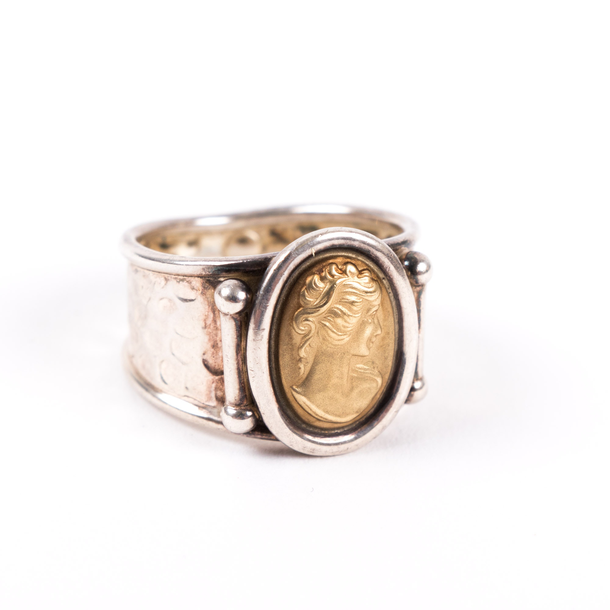 Sterling Silver and 14K Yellow Gold Cameo Ring