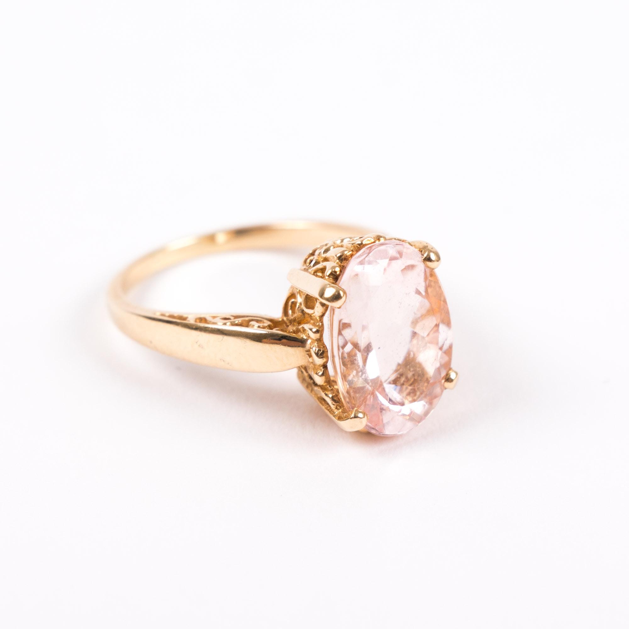 14K Yellow Gold and 5.38 CT Morganite Ring