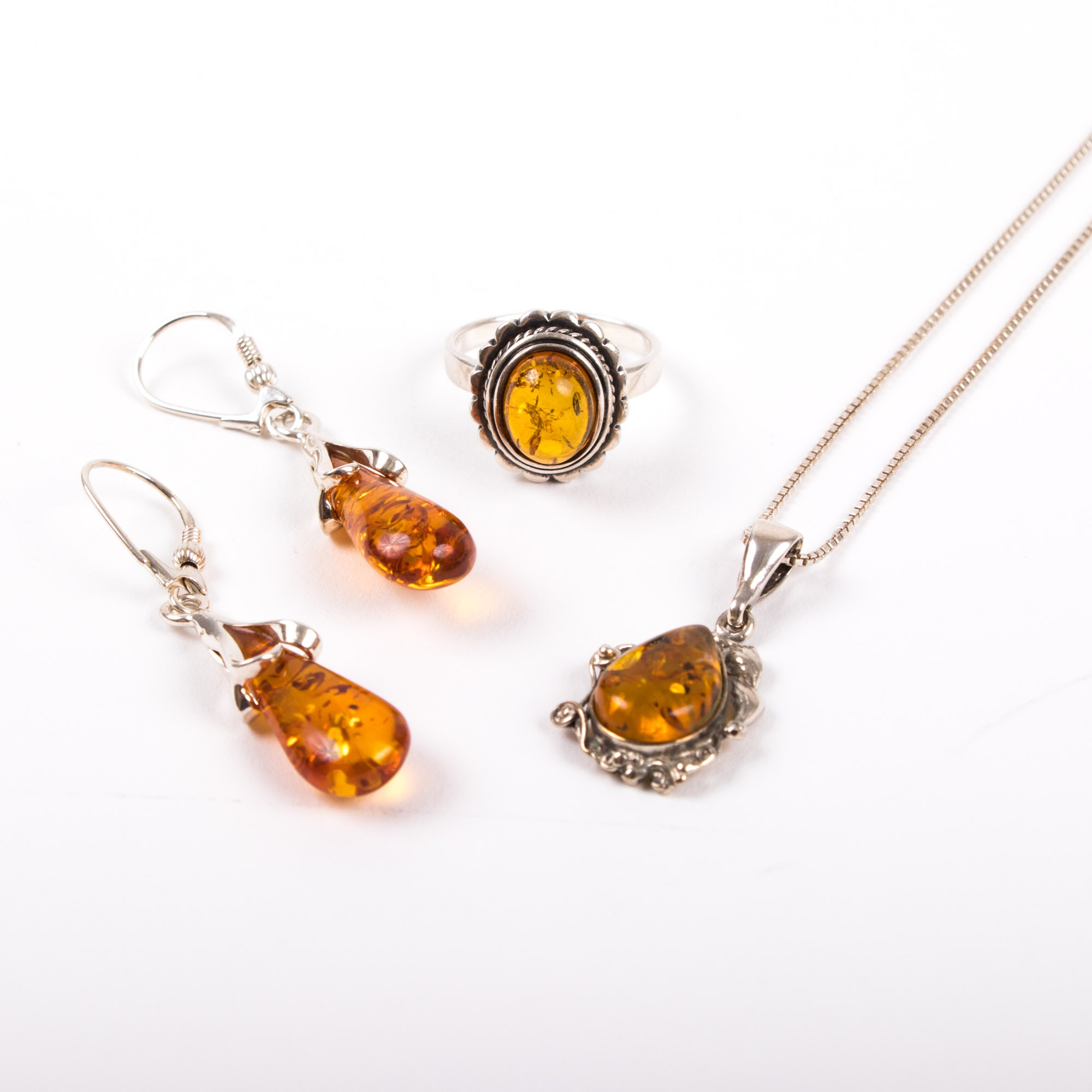 Sterling Silver and Amber Assorted Jewelry