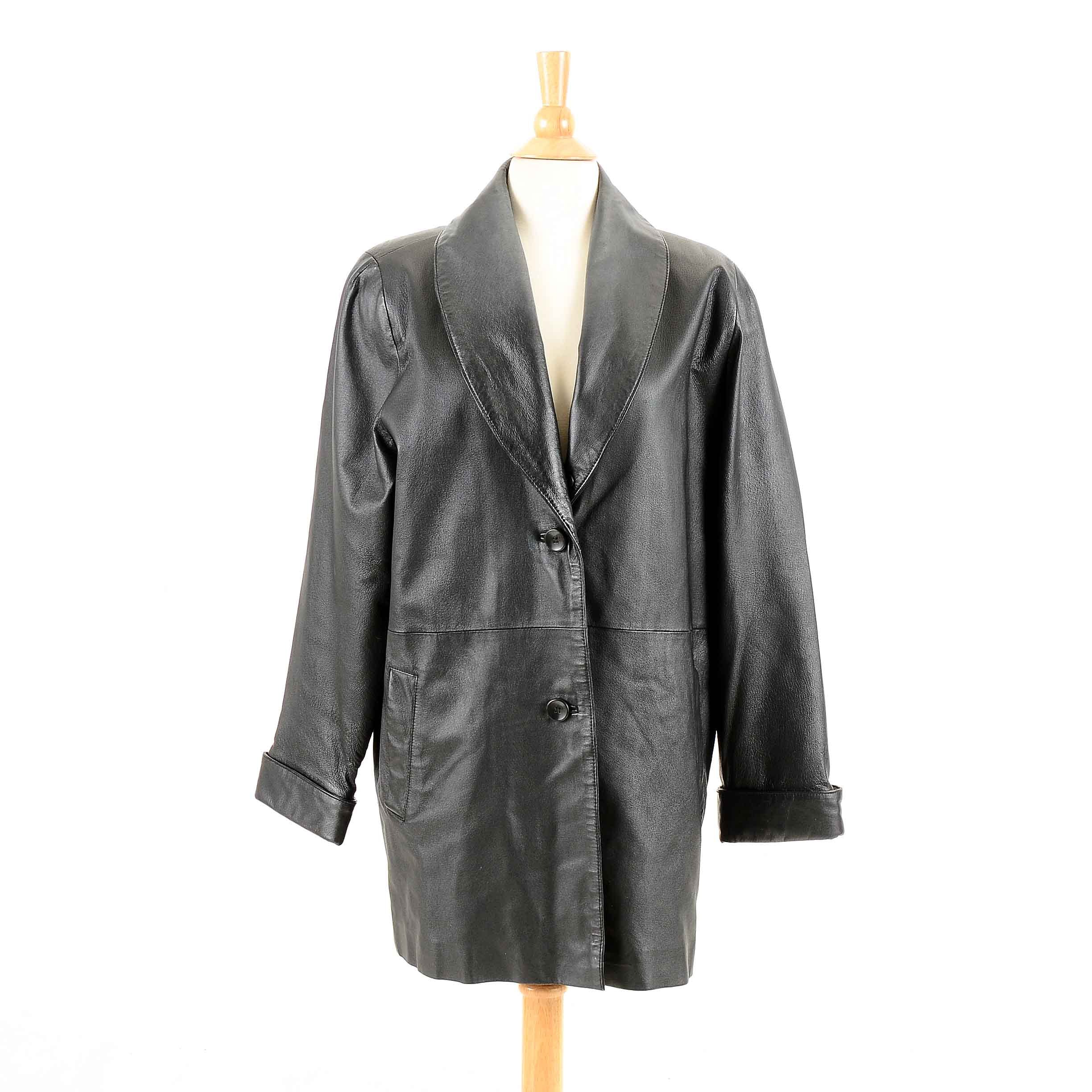 Women's Terry Lewis Black Leather Coat