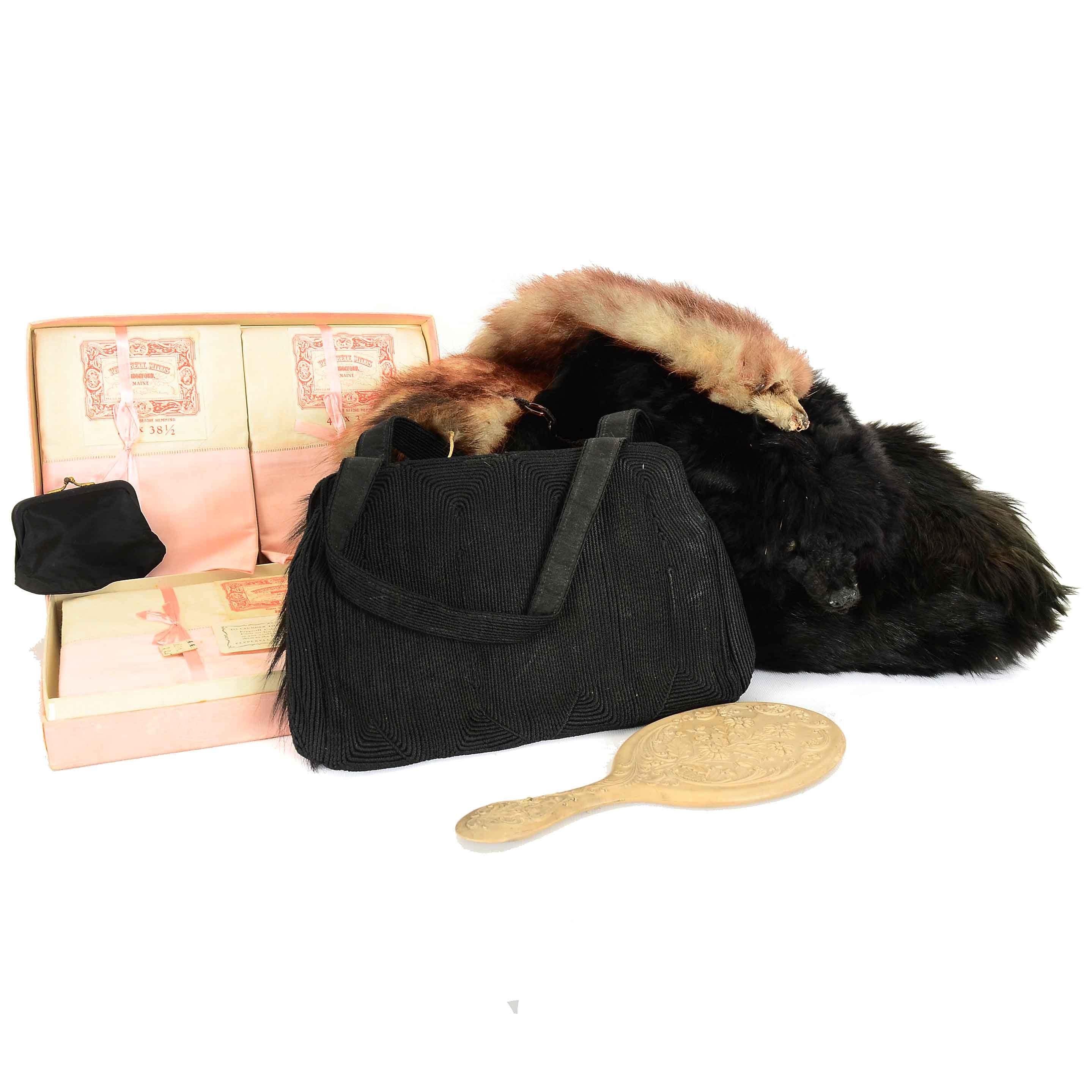 Vintage Muff, Pelts and Vanity Items Featuring Corde Handbag