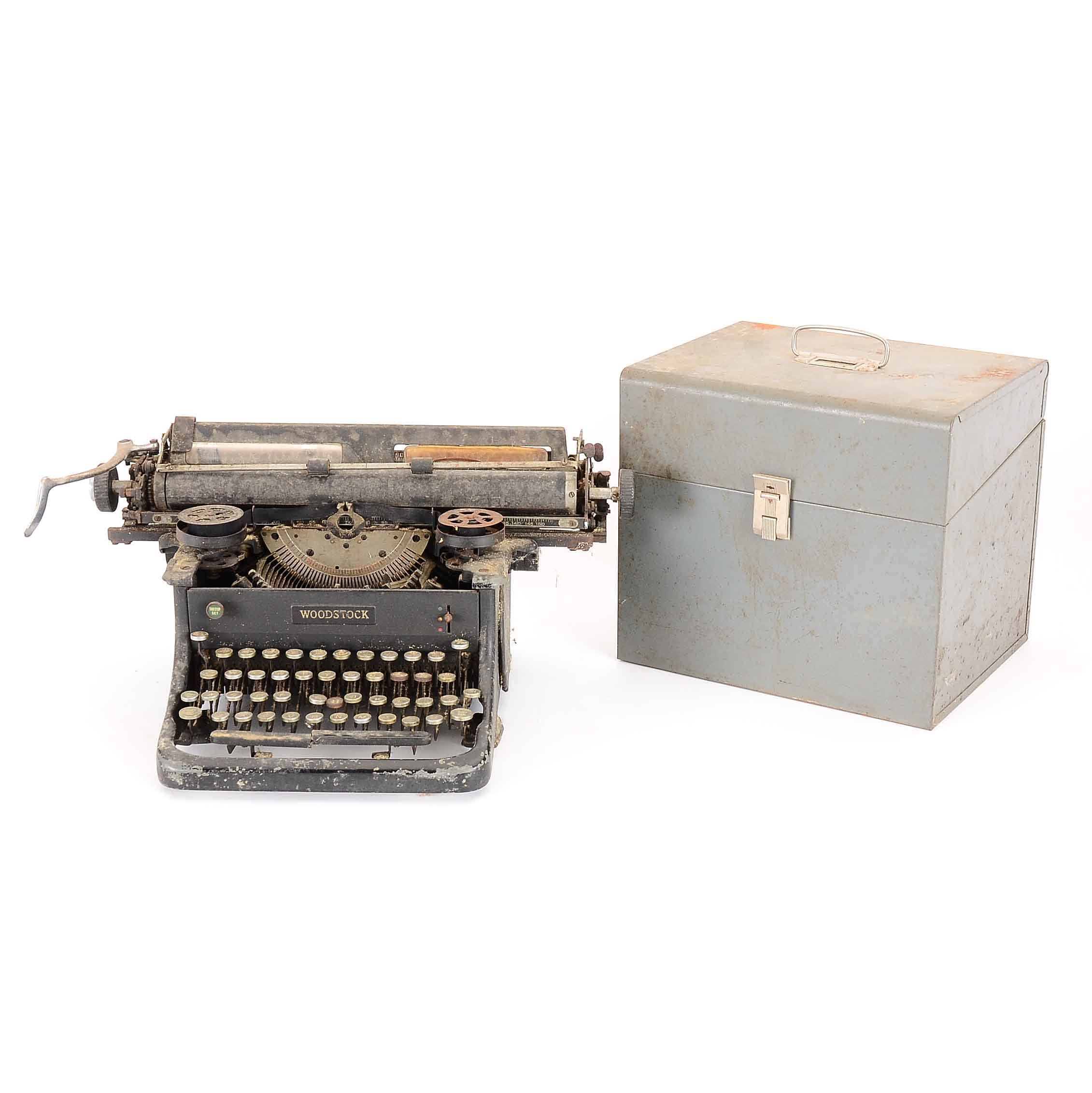 Antique Woodstock Typewriter and File Box