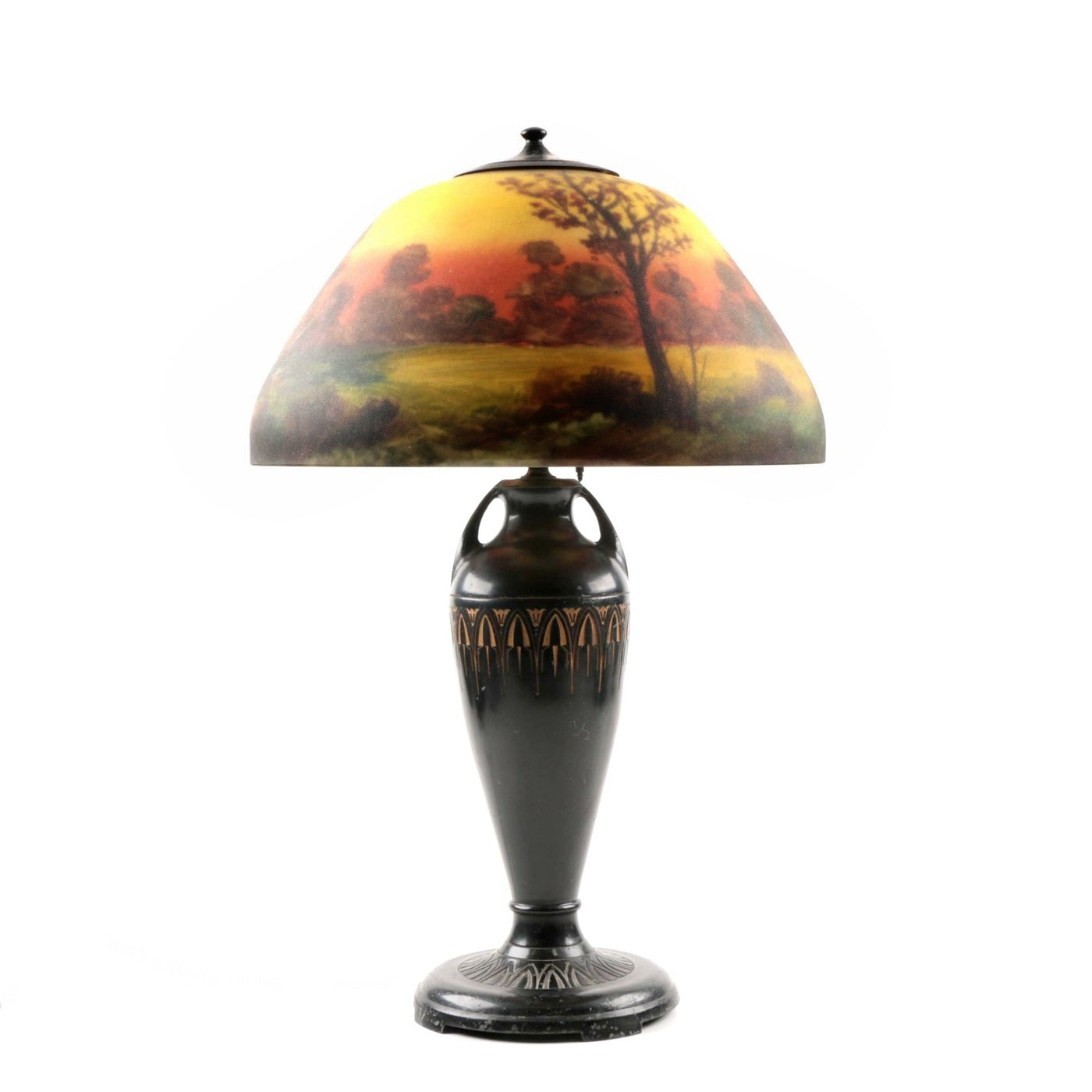 Moe-Bridges Table Lamp with Reverse-Painted Glass Shade