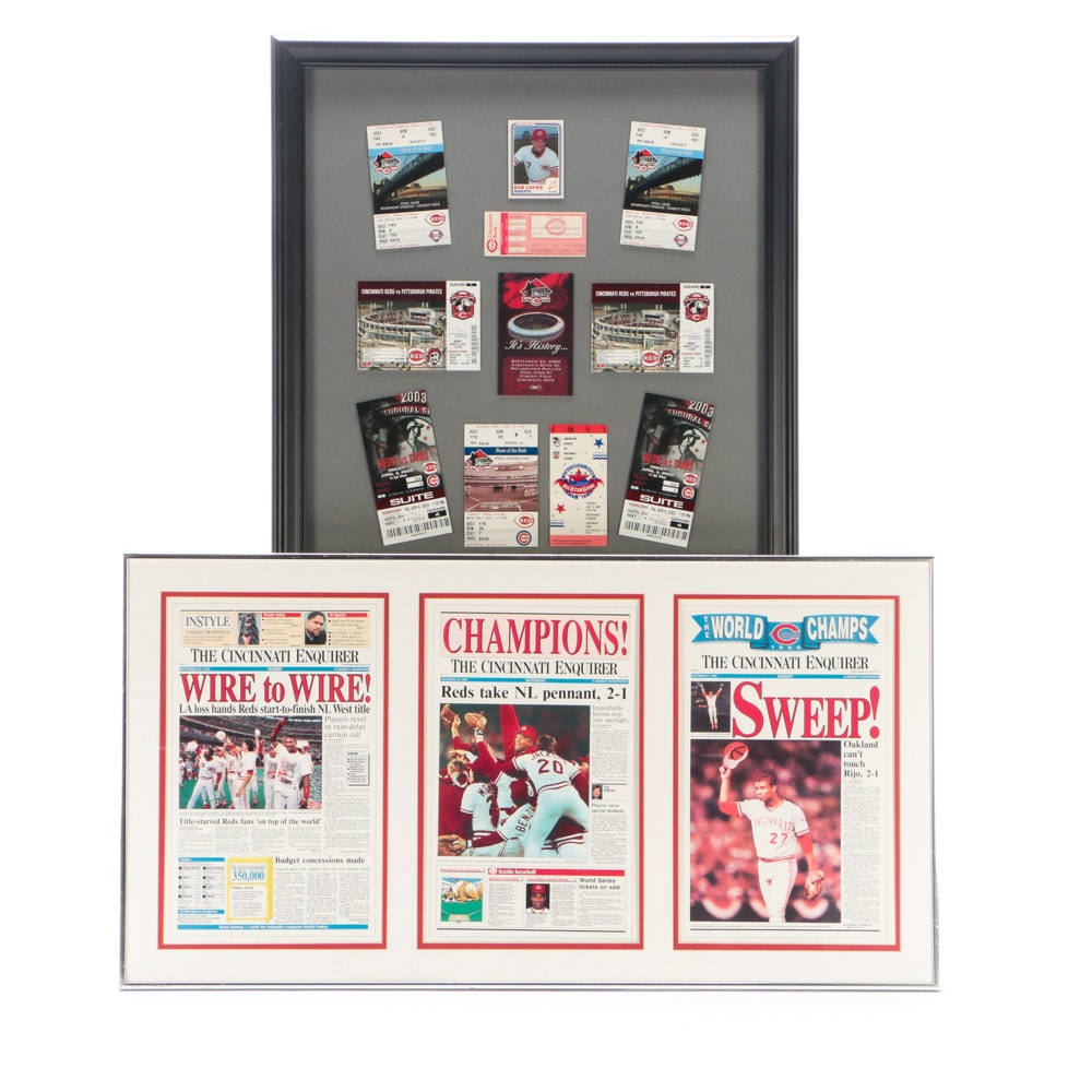 Two Cincinnati Reds Displays, One with Ticket Stubs