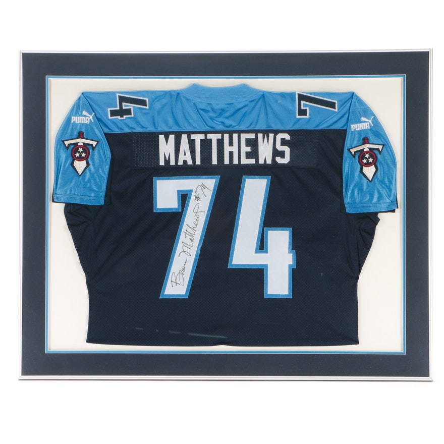 more photos c77f8 15c65 Bruce Matthews Signed Titans Jersey