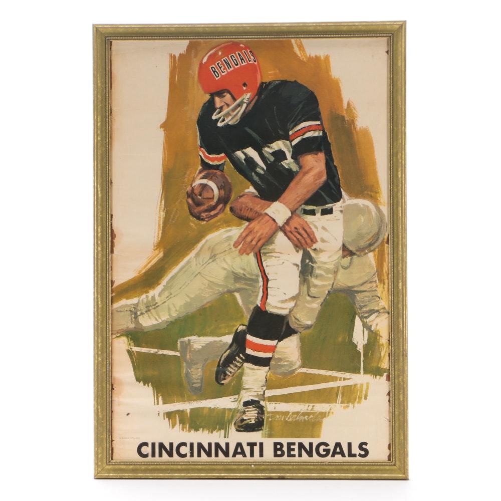 1968 Cincinnati Bengals Inaugural AFL Framed Poster