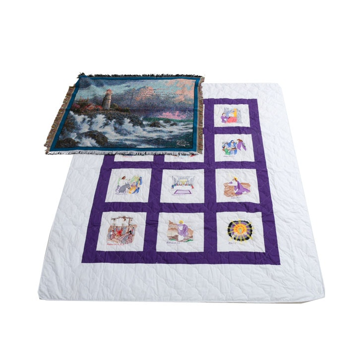 Life Of Christ Quilt, Framed Thread Count Art and Thomas Kinkade Throw