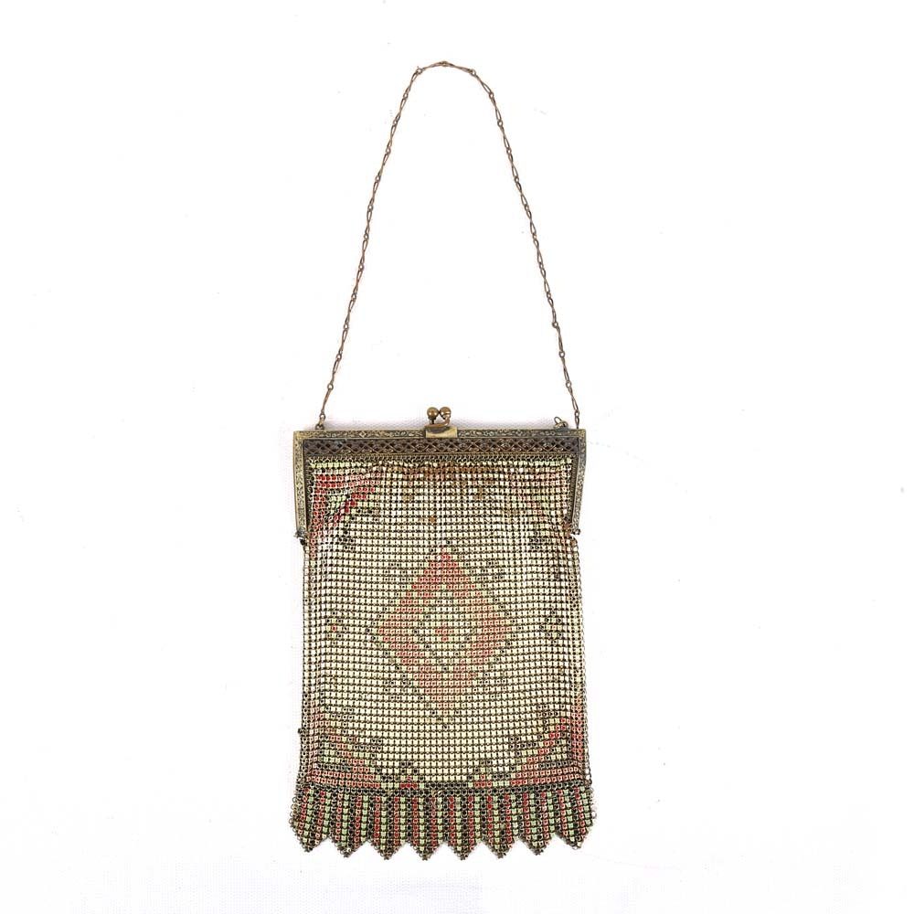 Vintage Circa 1920s Whiting & Davis Co. Metal Mesh Evening Bag