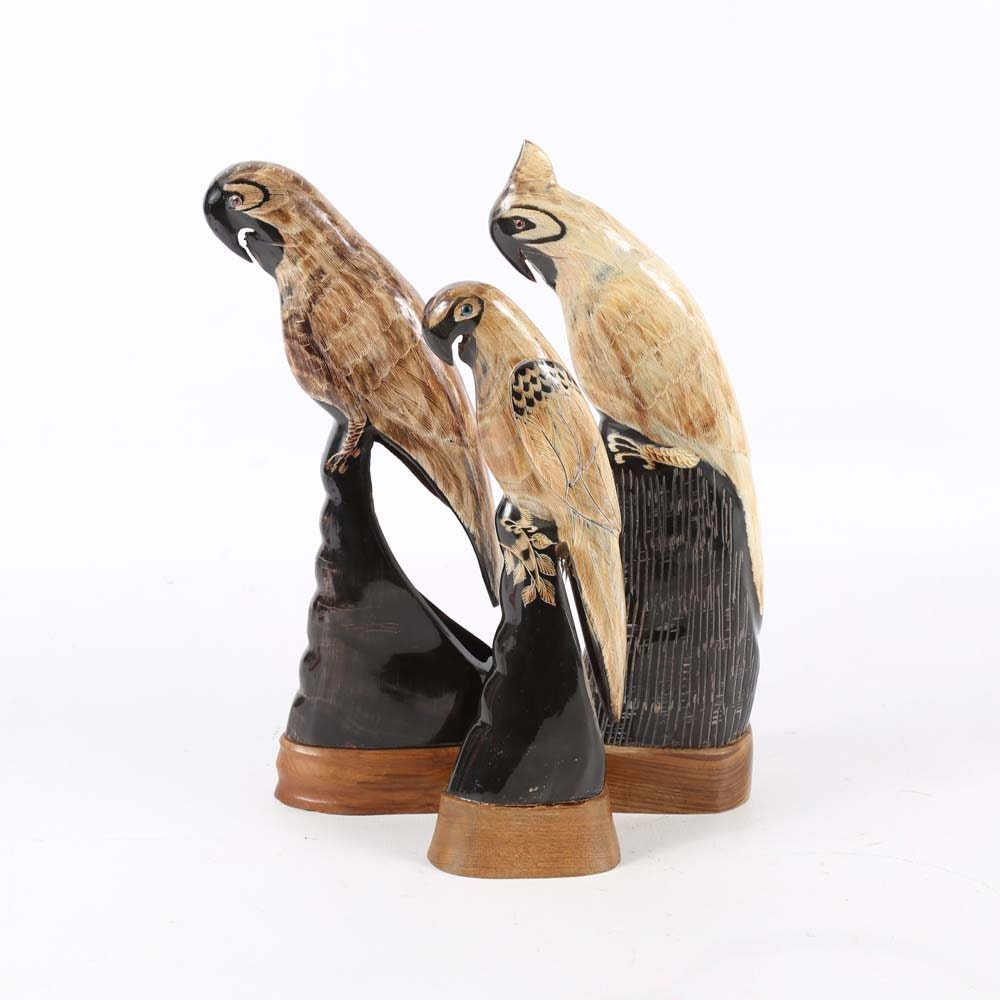 Carved Water Buffalo Horn Parrots