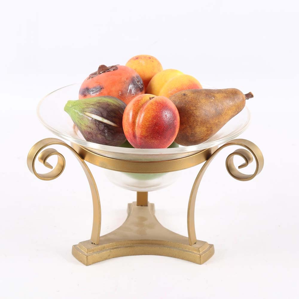 Glass Bowl with Marble Fruit