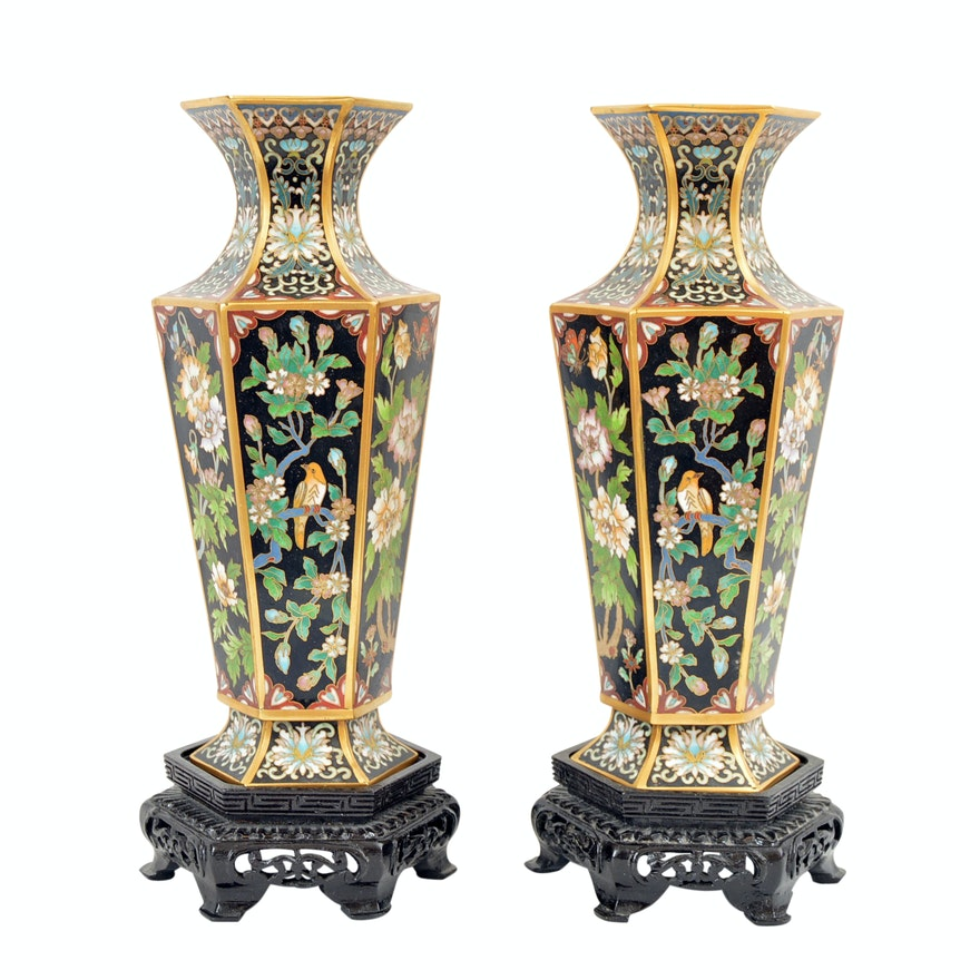 Vintage Chinese Cloisonne Vases with Wood Display Bases