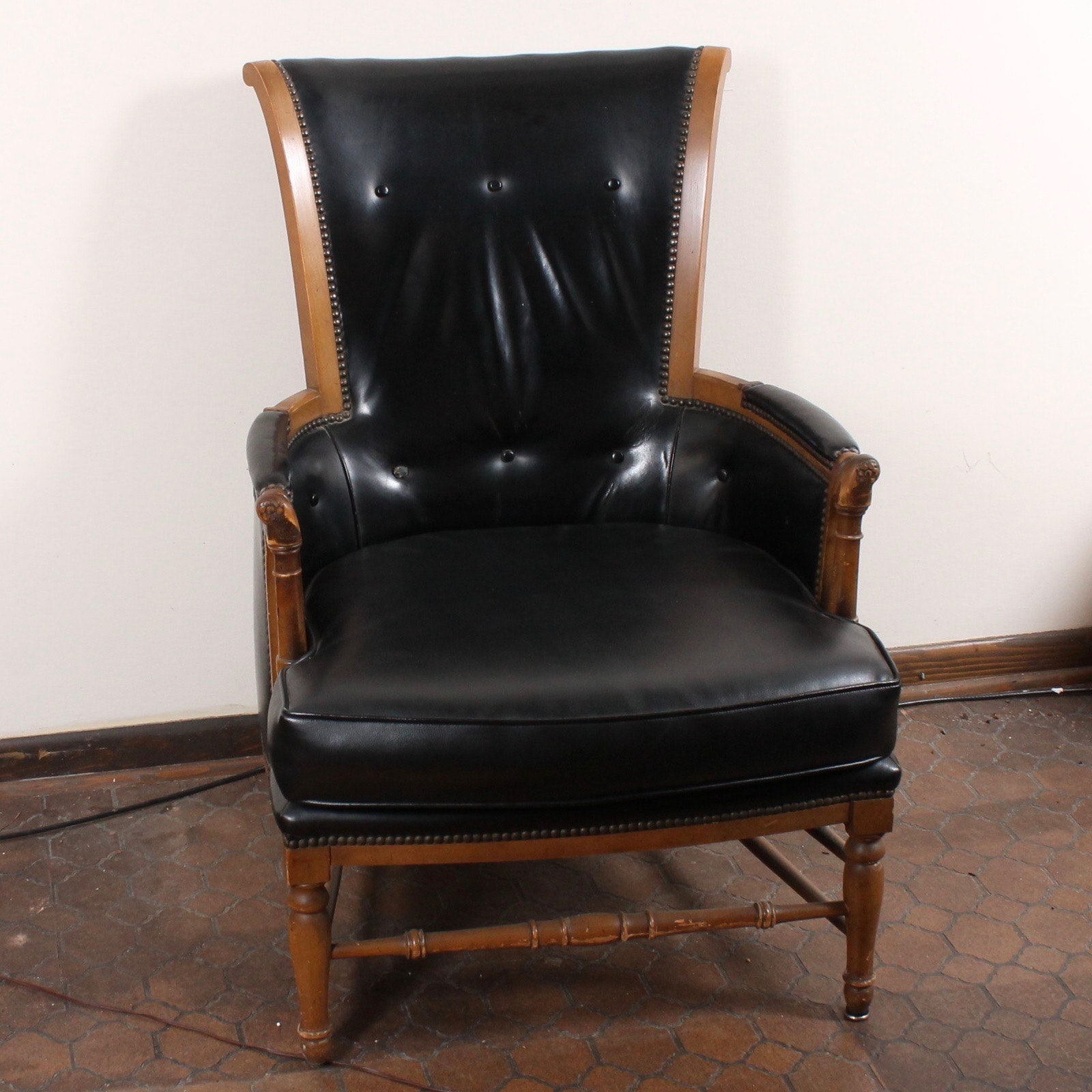 Vintage Leather Upholstered Bergère Chair