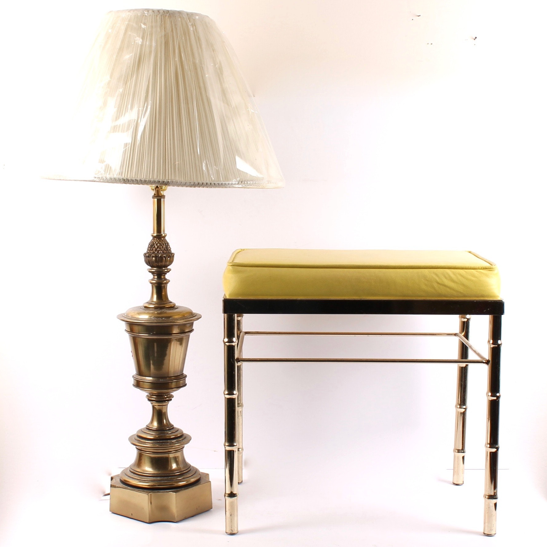 Brass Framed Ottoman and Stiffel Table Lamp