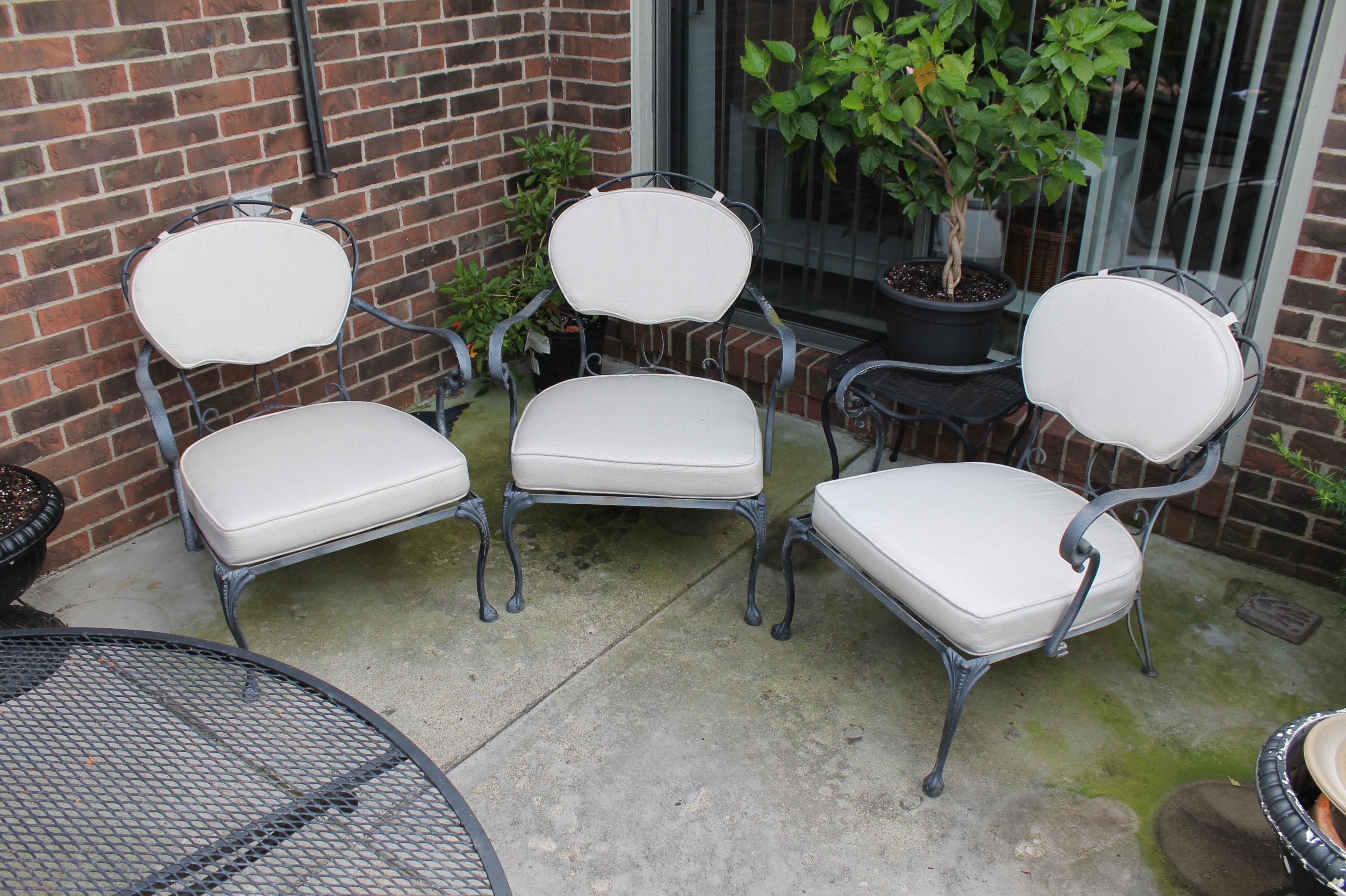Three Vintage Cast Metal Patio Armchairs