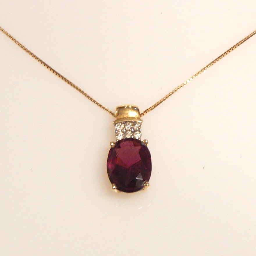 14k yellow gold chain necklace and amethyst and diamond pendant ebth 14k yellow gold chain necklace and amethyst and diamond pendant aloadofball Images