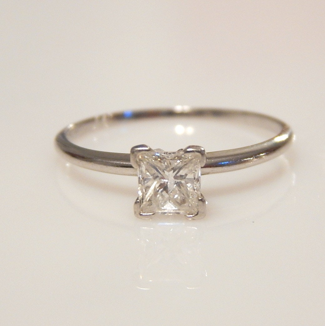 Platinum 0.63 CT Princess Cut Diamond Solitaire Ring