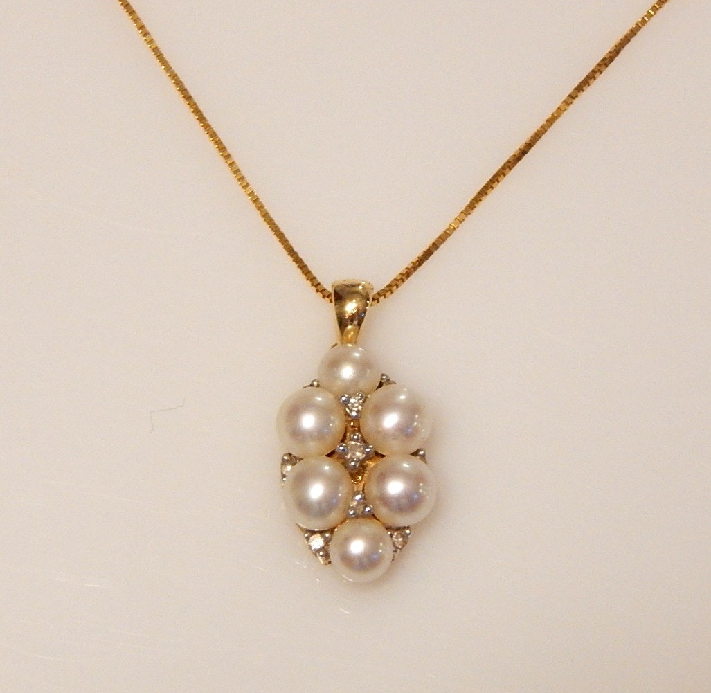 14K Yellow Gold Cultured Pearl and Diamond Pendant and Chain Necklace
