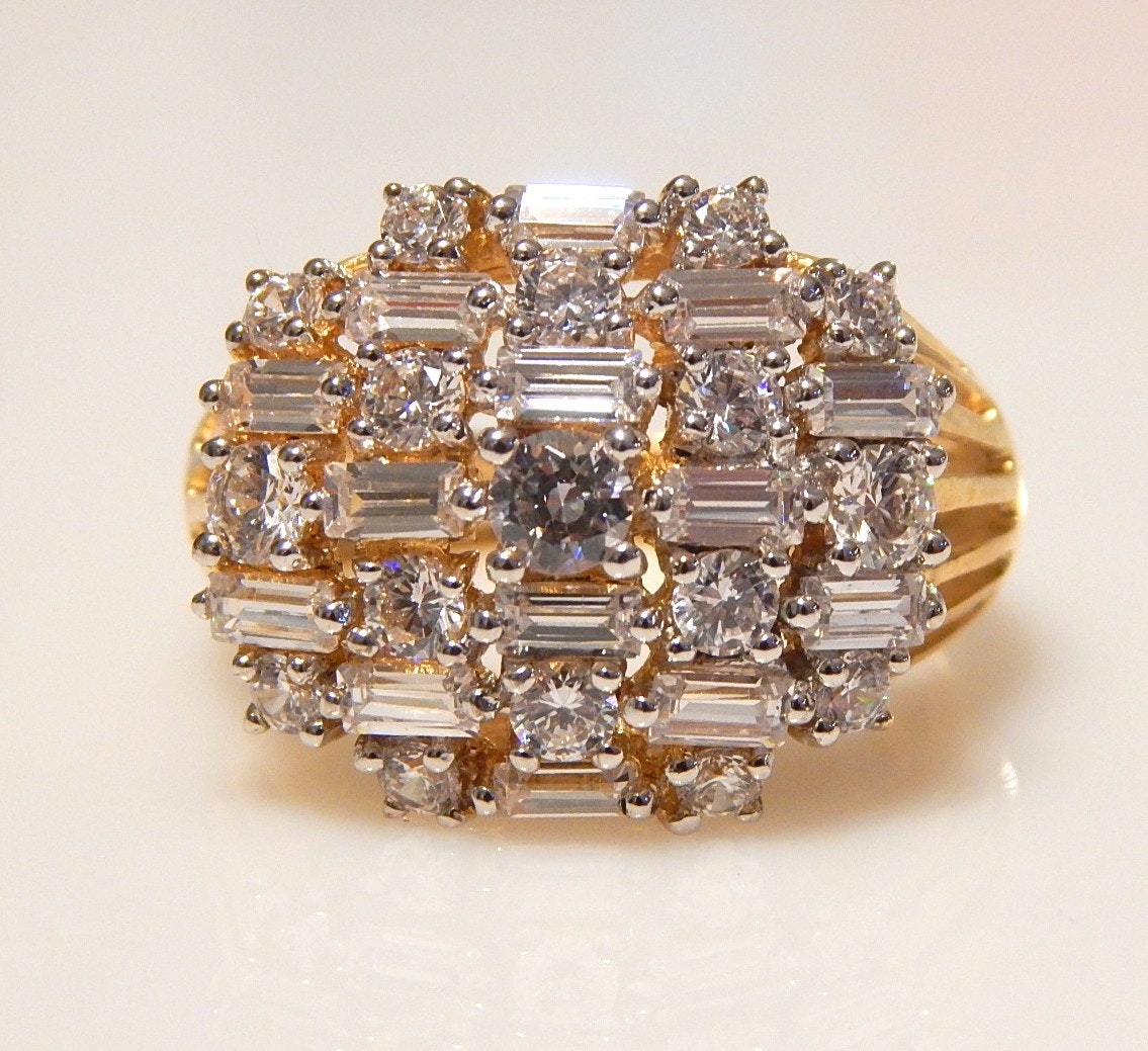 Sterling Silver Gold Wash and Cubic Zirconia Ring