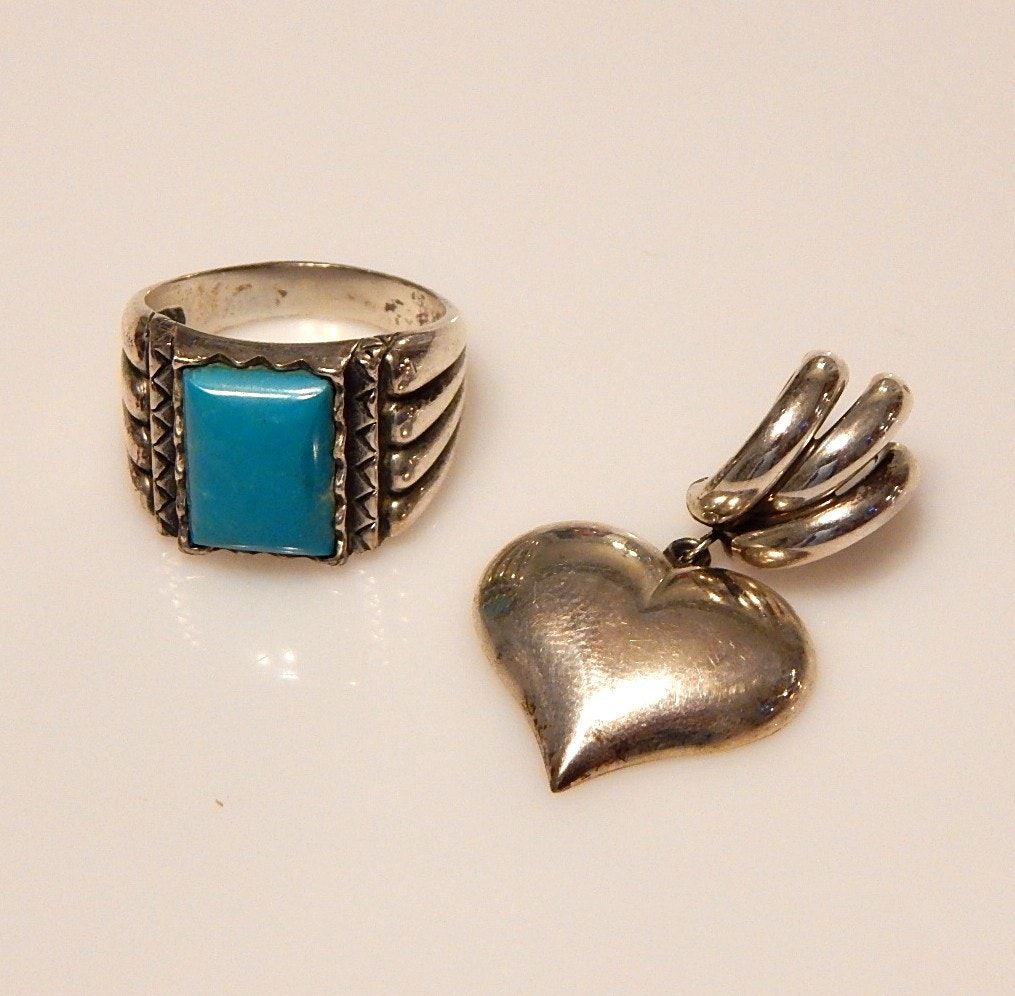 Sterling Silver Heart Pendant and Turquoise Tone Ring