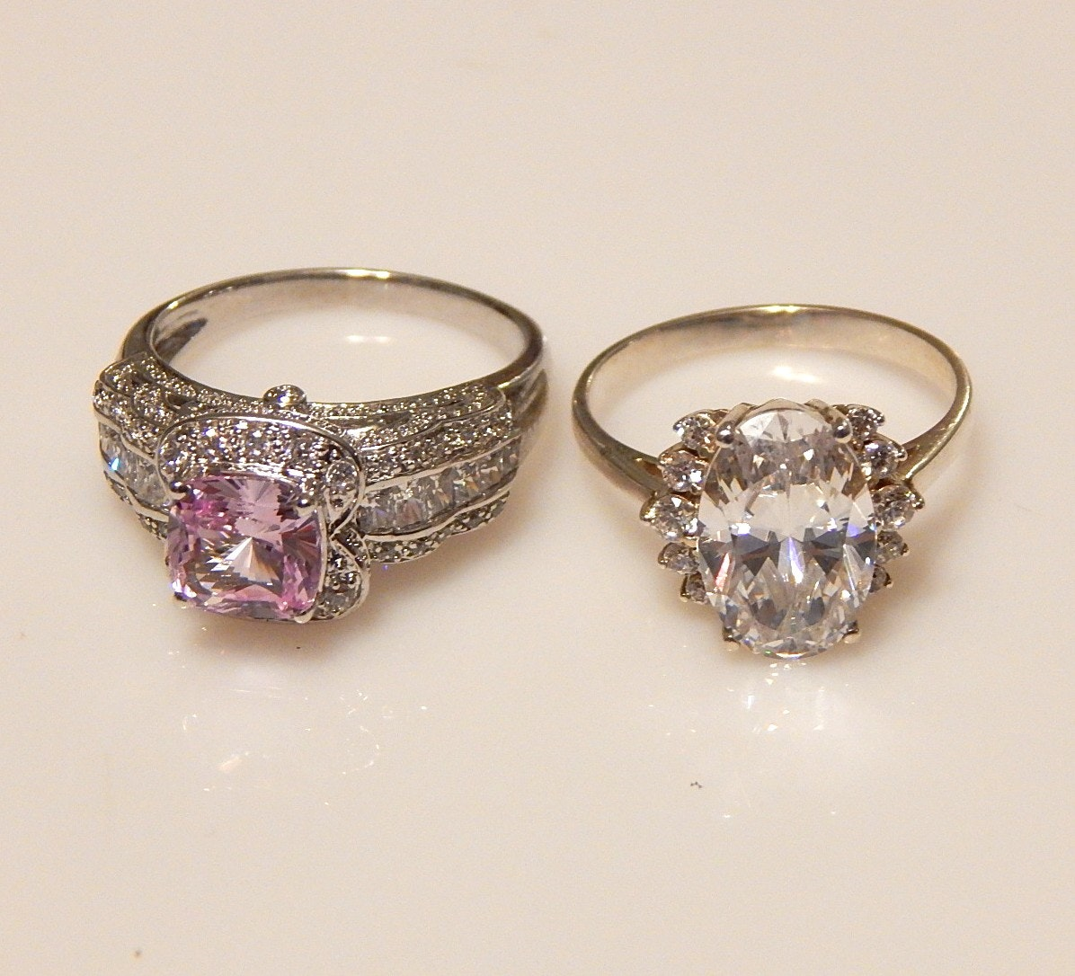 Two Sterling Silver and Cubic Zirconia Rings