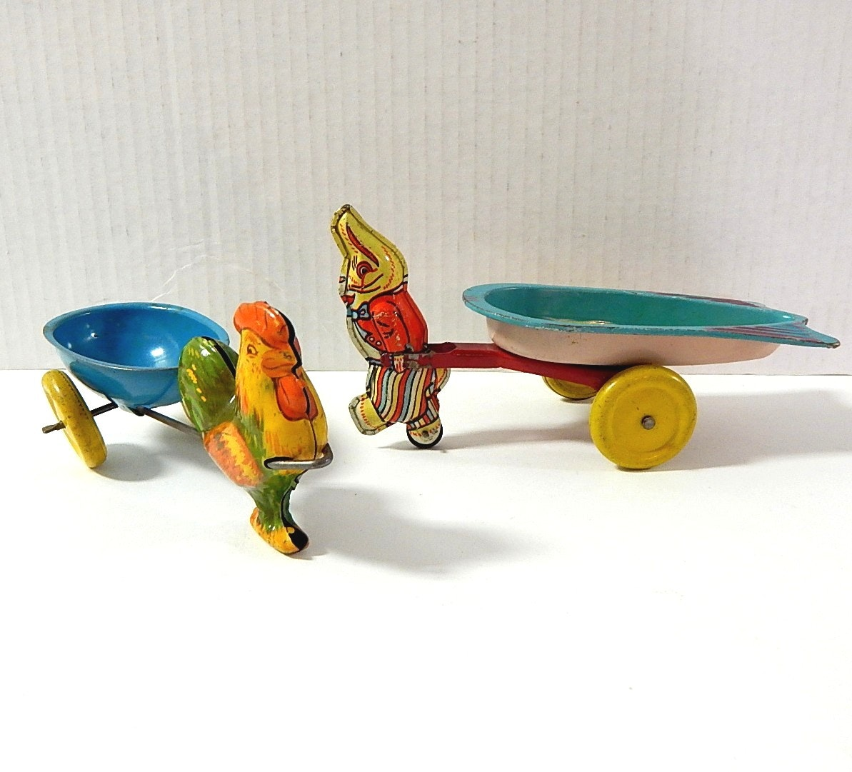 Two Vintage Tin Litho Easter Toys with 1930s Wyandotte