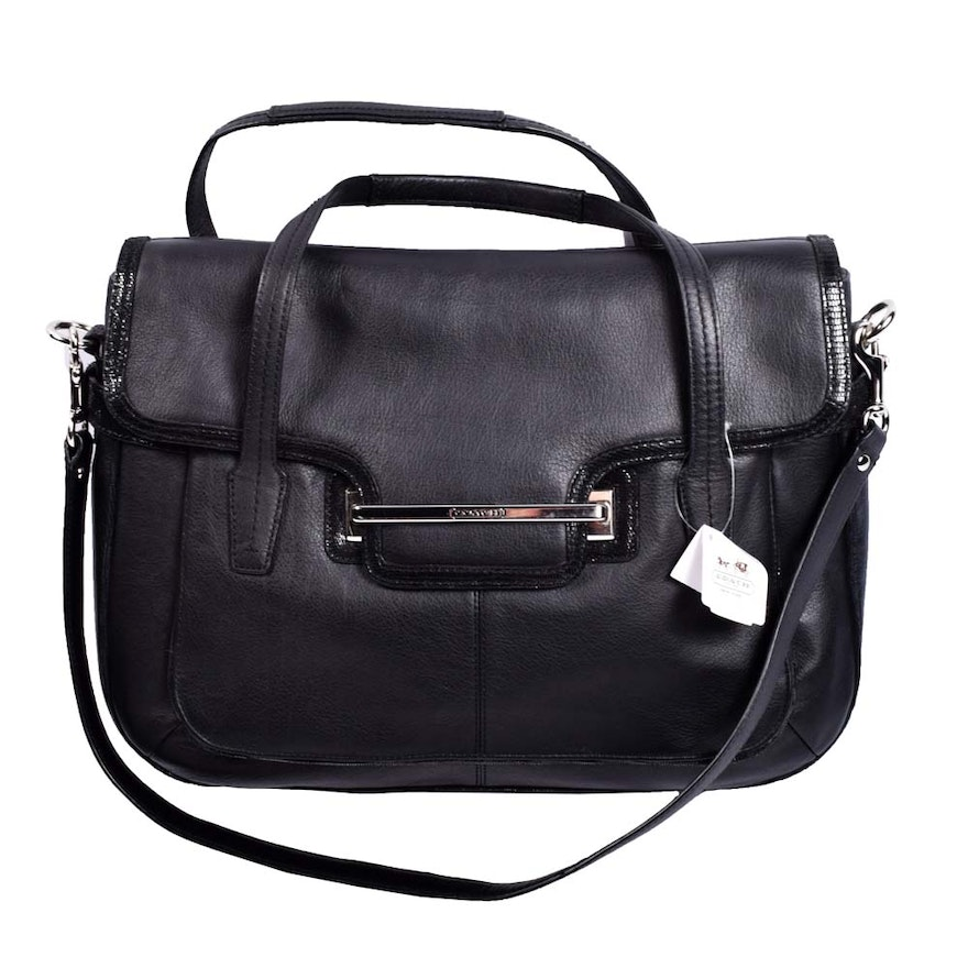 ac7dfcda30b Coach Taylor Marin Flap Black Leather Satchel   EBTH