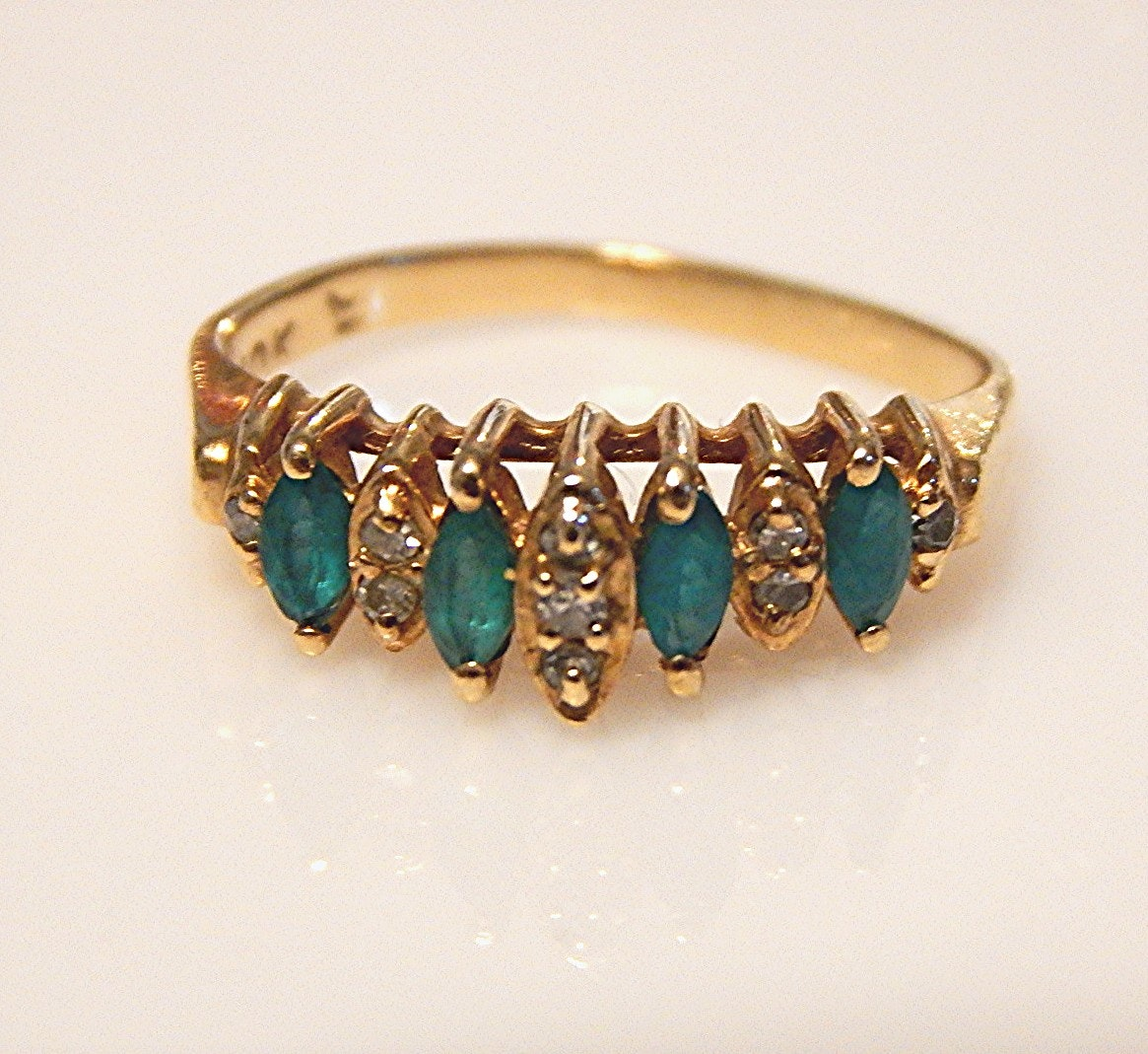10K Yellow Gold Emerald and Diamond Ring